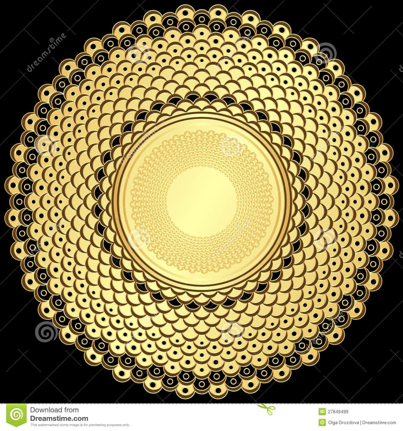 Vintage Gold Round Frame Stock Vector Image Of Geometric