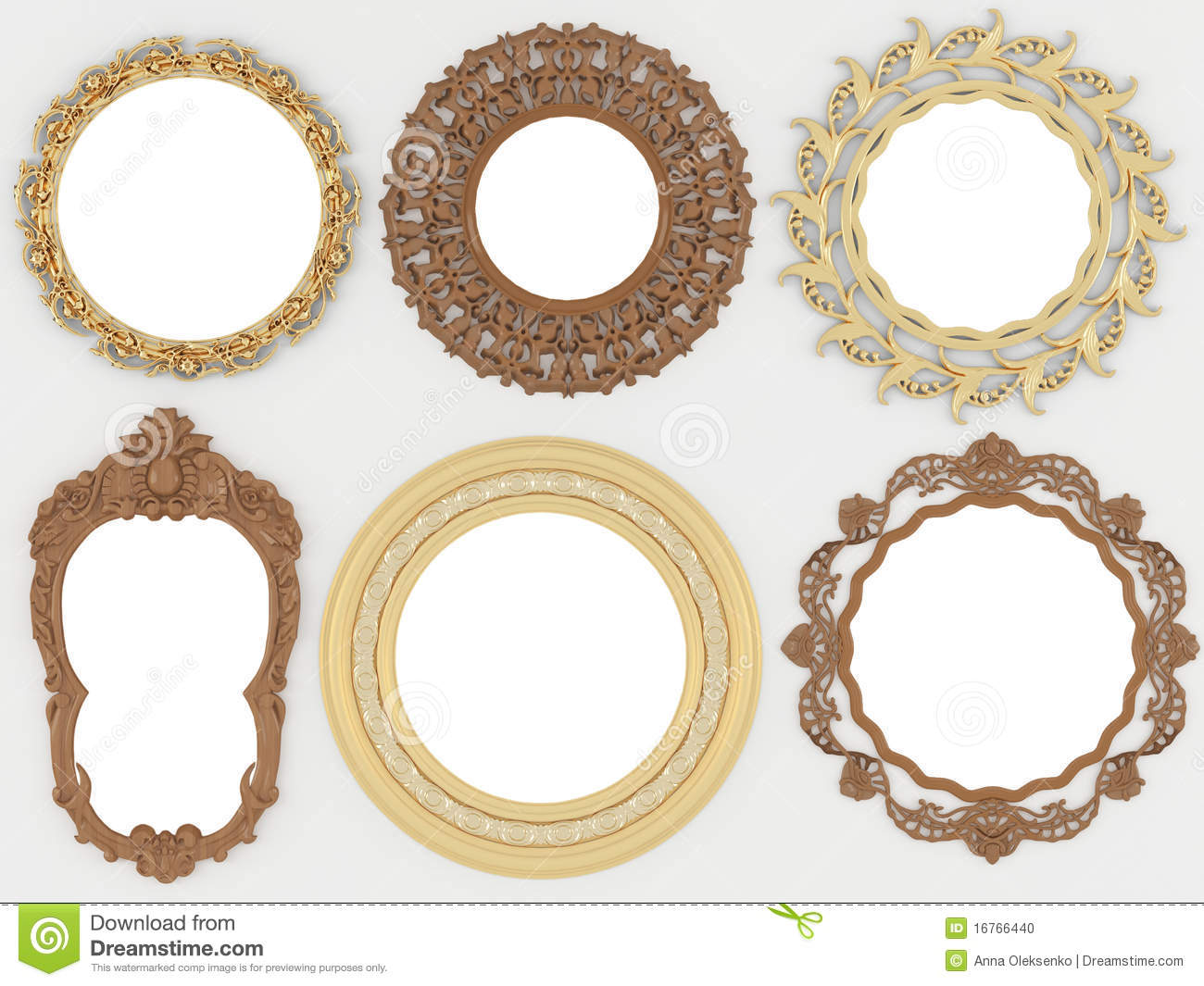 vintage gold and wooden empty round picture frames stock. Black Bedroom Furniture Sets. Home Design Ideas