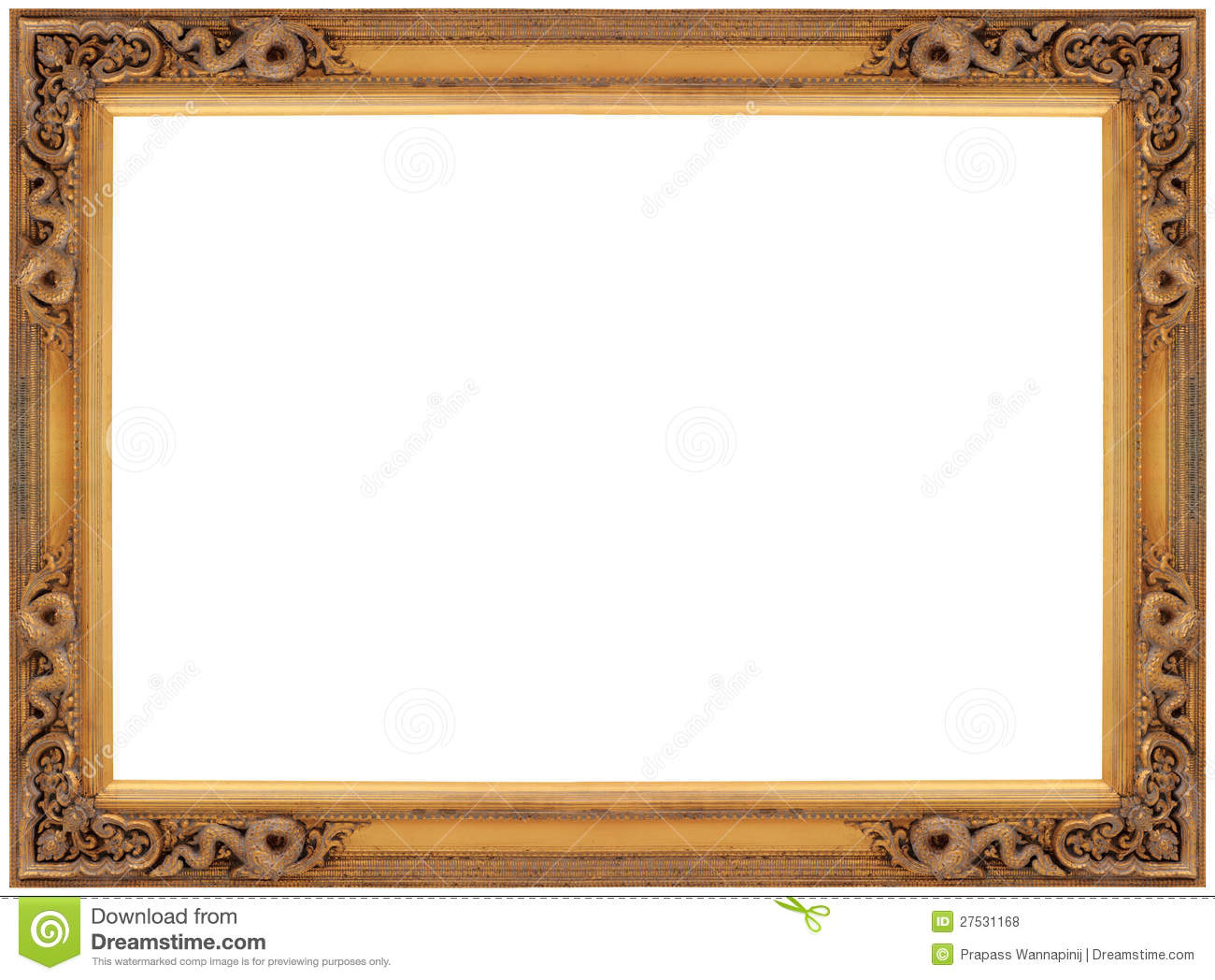 Vintage Gold Wooden Picture Frame Stock Photo Image