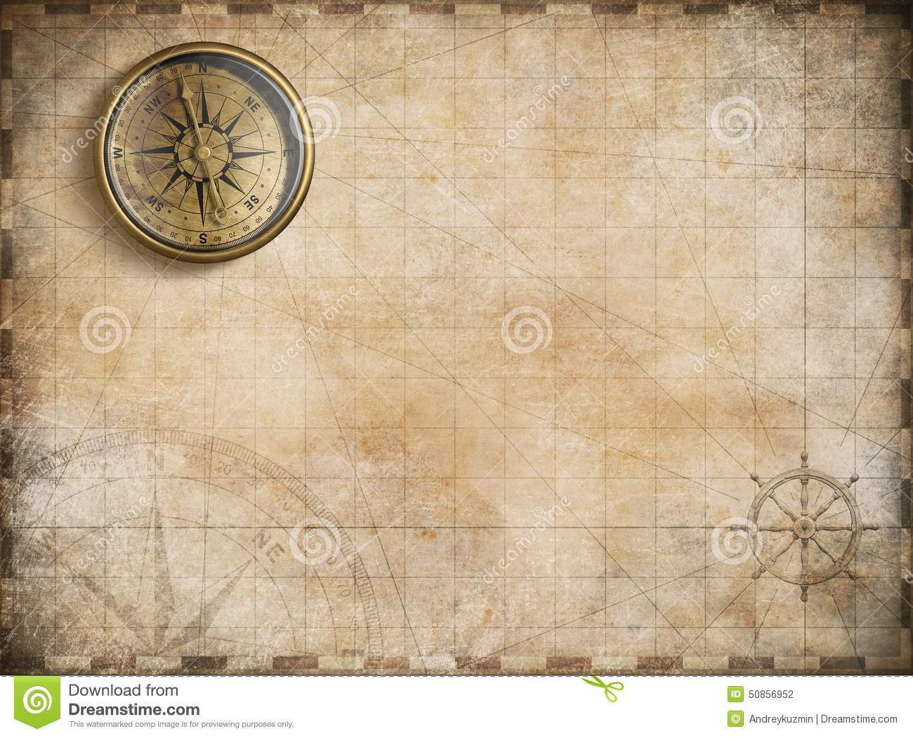Vintage Golden Compass With Nautical Map Stock
