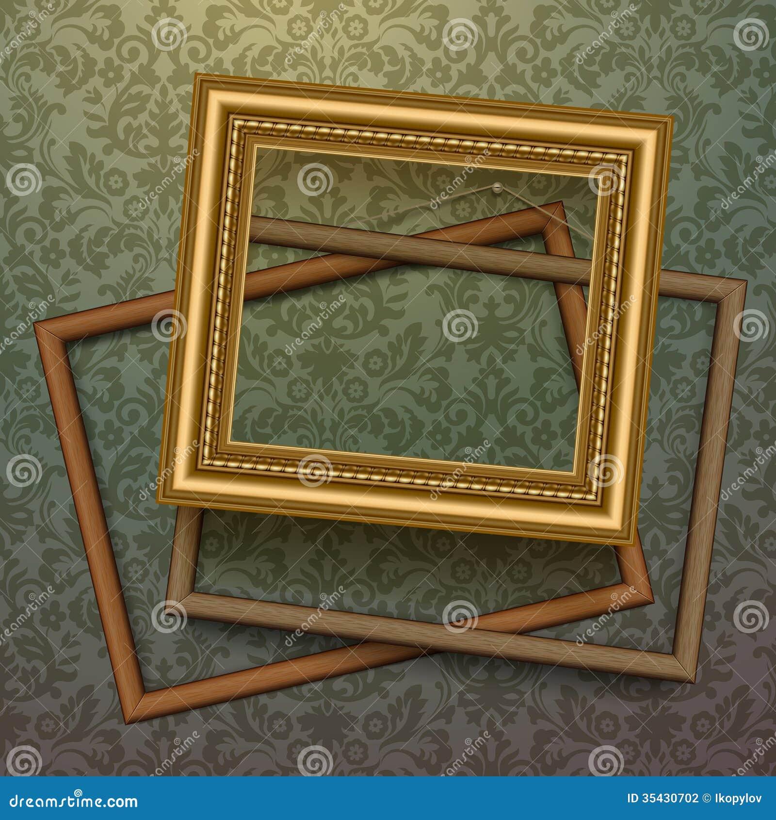 Vintage golden frames on floral background