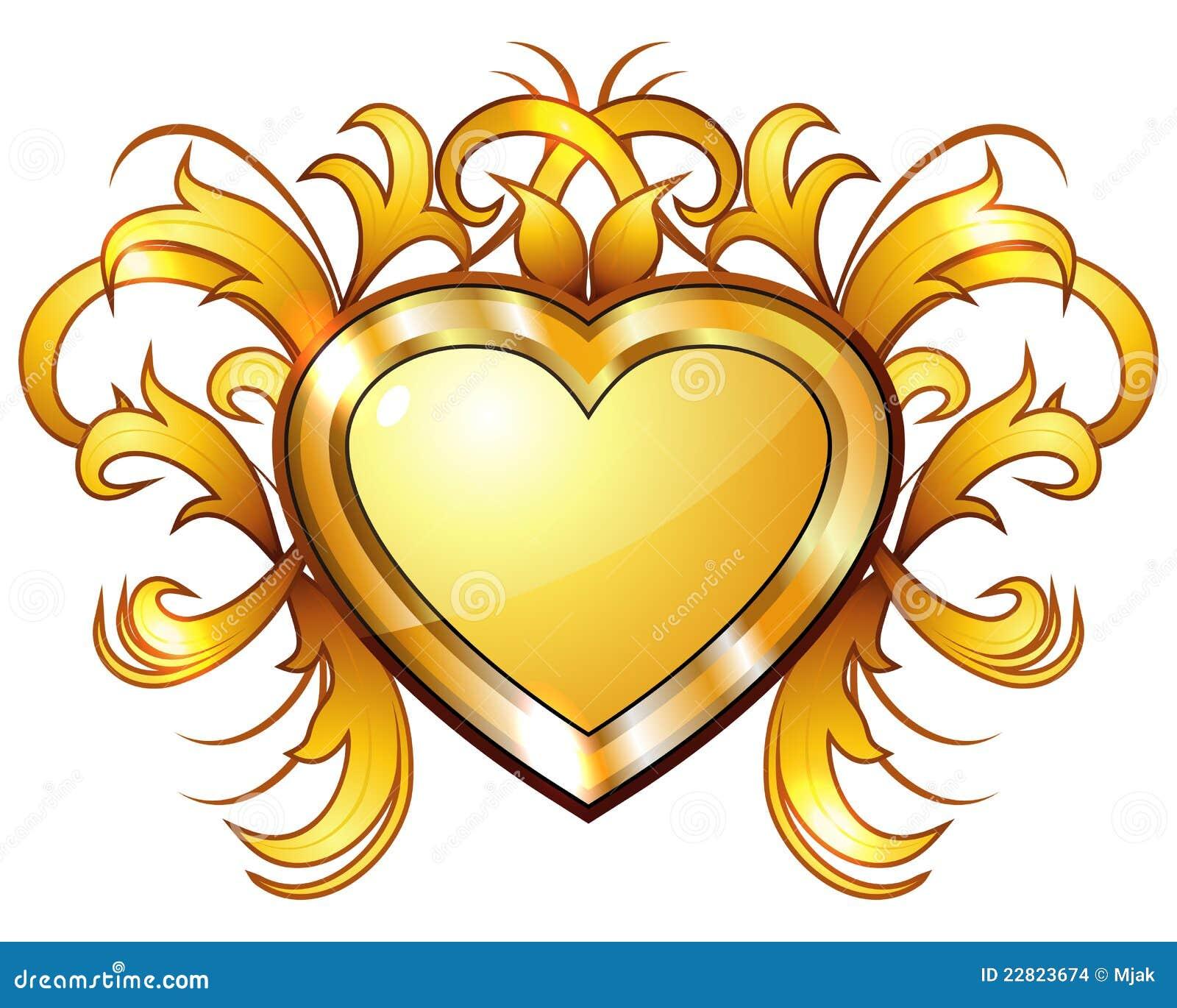 Gold heart 3d