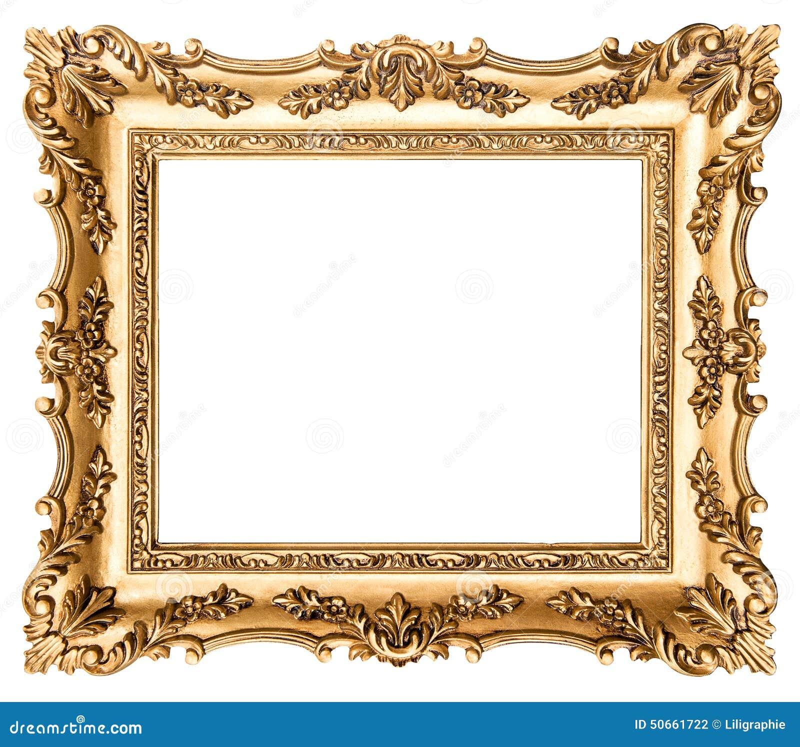 Vintage golden picture frame antique style object stock for Small vintage style picture frames