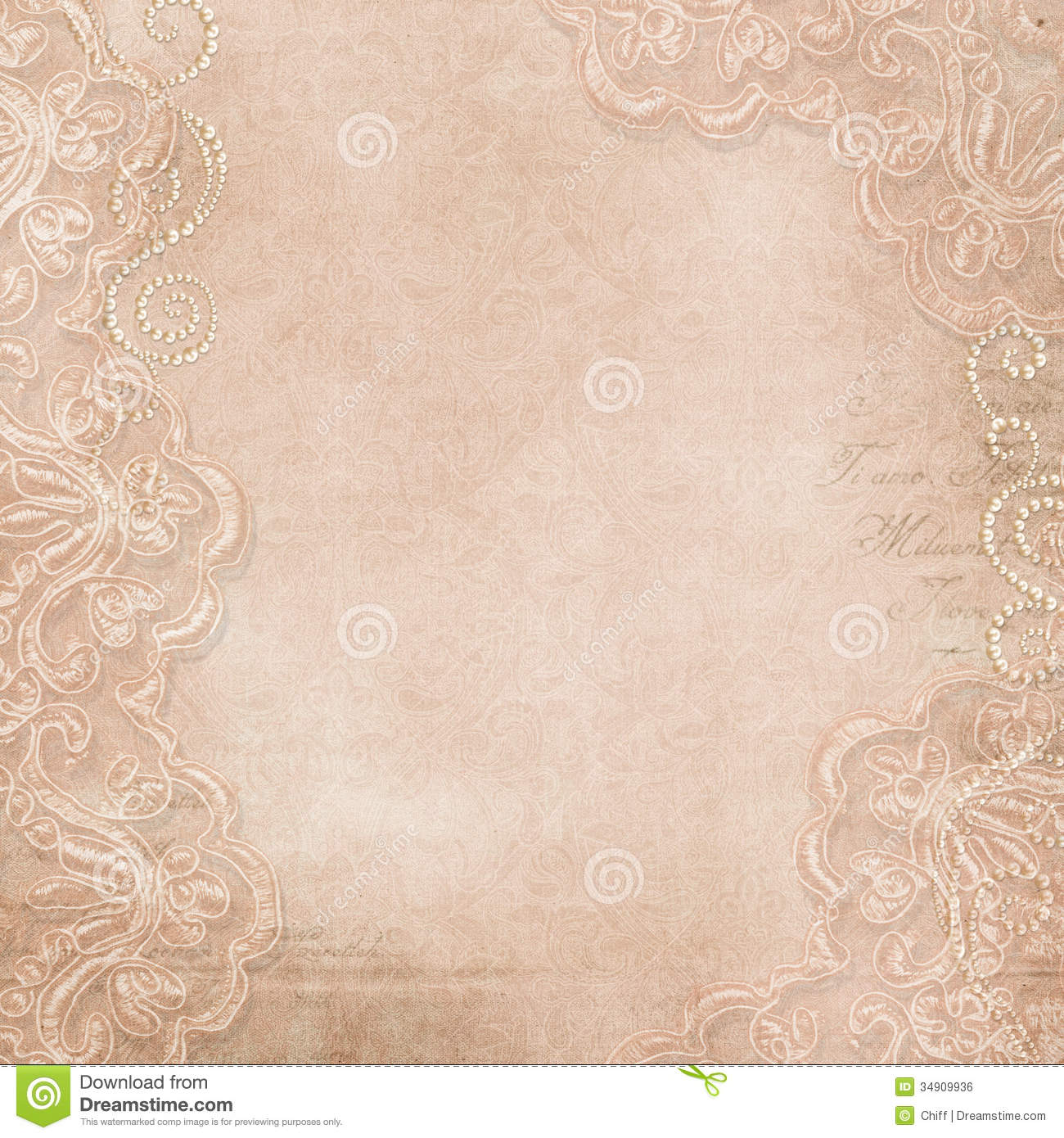 Vintage Gorgeous Background With Lace And Pearls Royalty ...