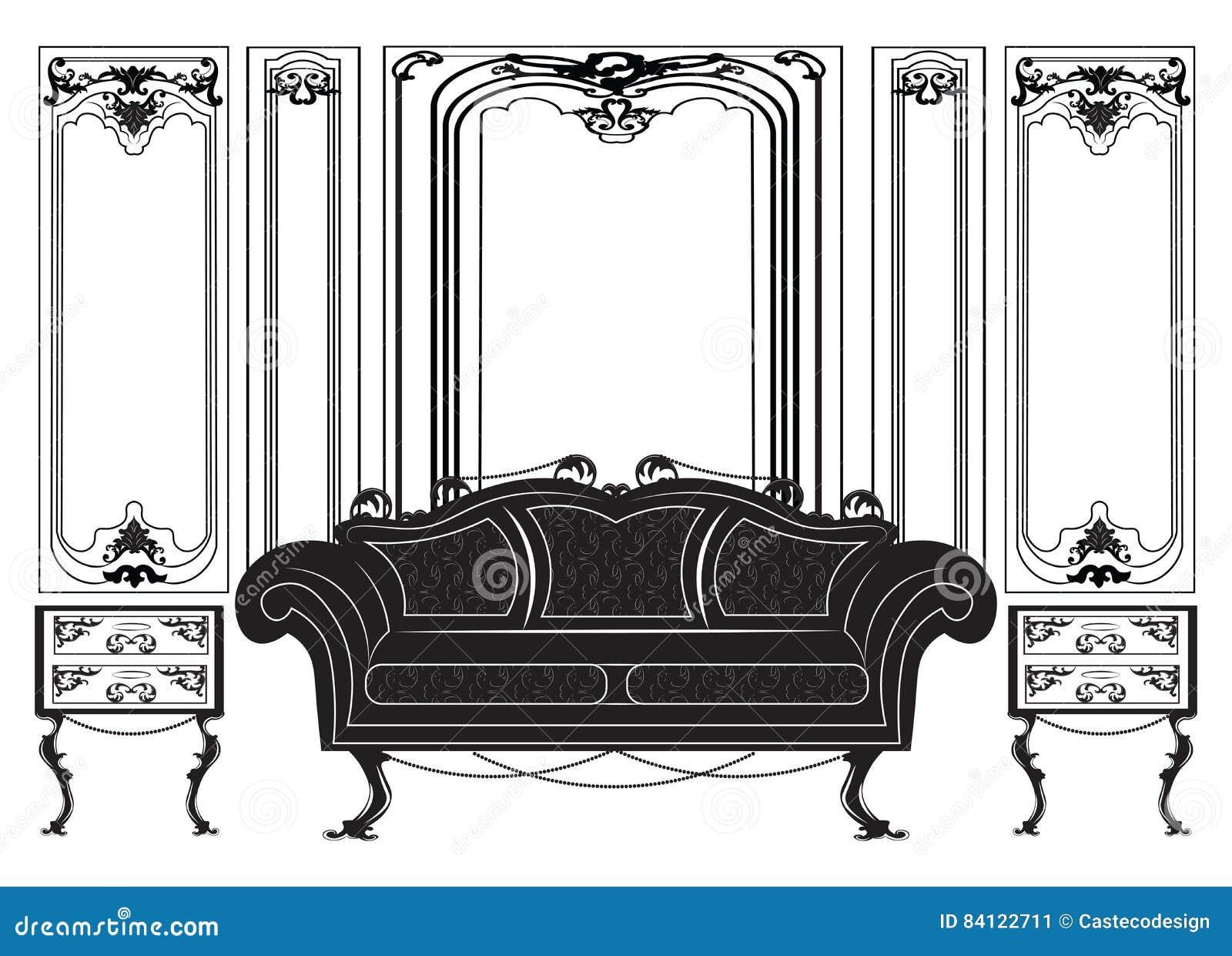 Vintage Gothic Style Furniture Set Stock Vector - Illustration of ...