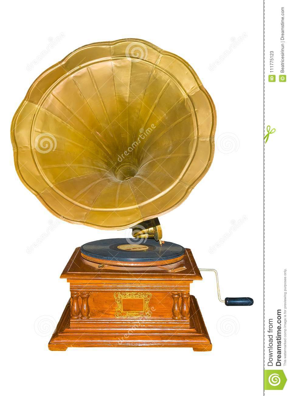 Vintage Gramophone with clipping path.