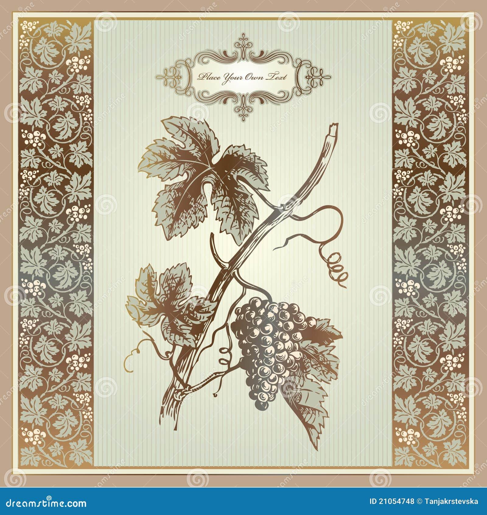 Vintage Grape Elements For Wine Label, Menu, Print Royalty