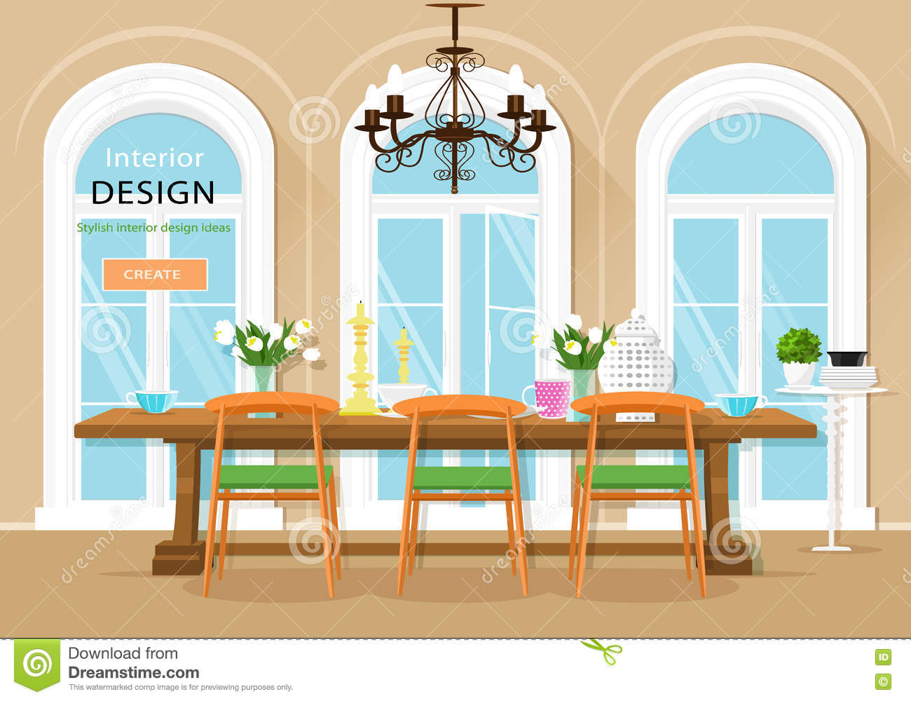 vintage graphic dining room interior with dining table, chairs and