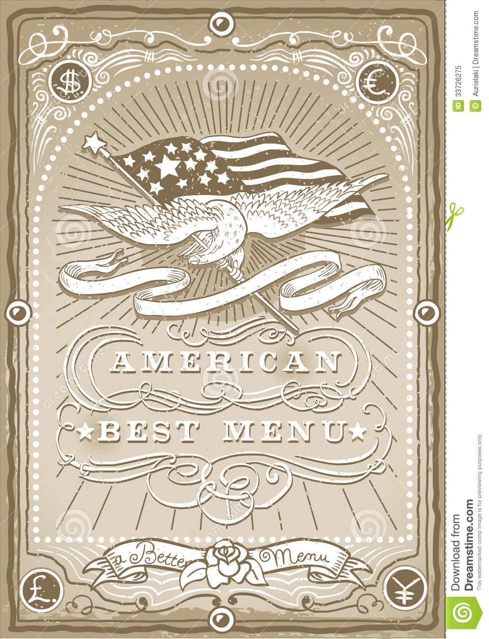 Vintage Graphic Page for American Menu