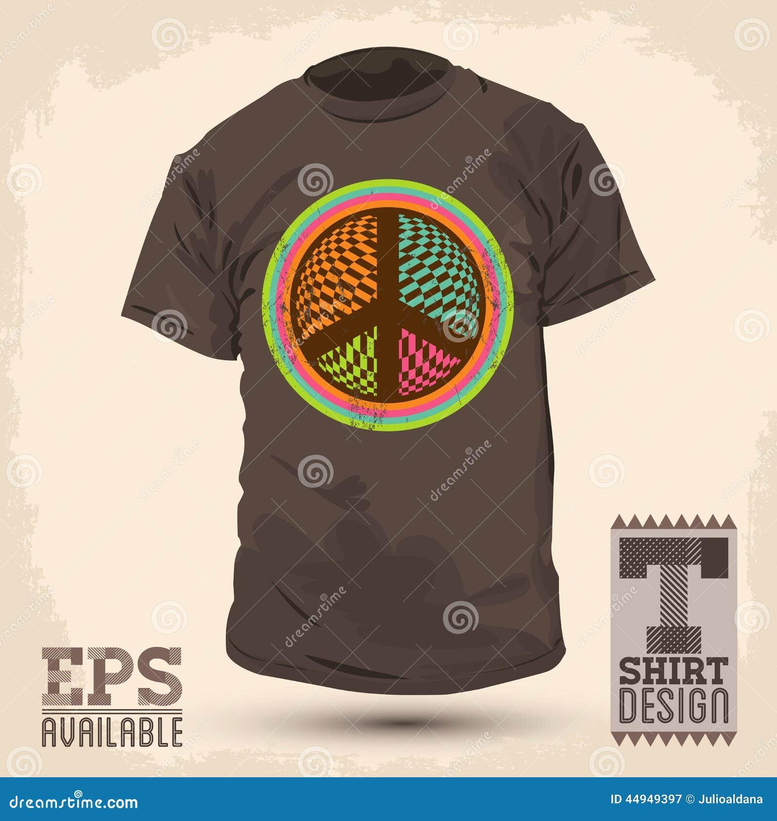 Shirt design elements - Vintage Graphic T Shirt Design Peace And Love Sign