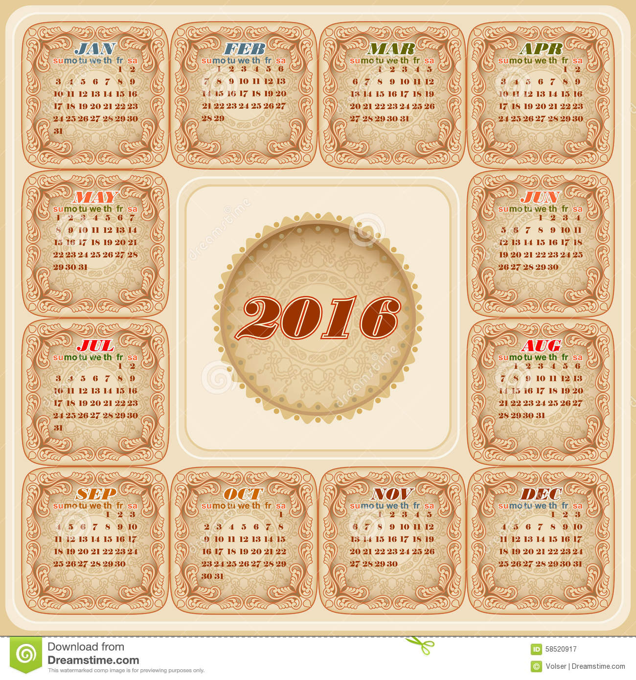 Vintage Calendar Template : Vintage graphic template for calendar stock vector