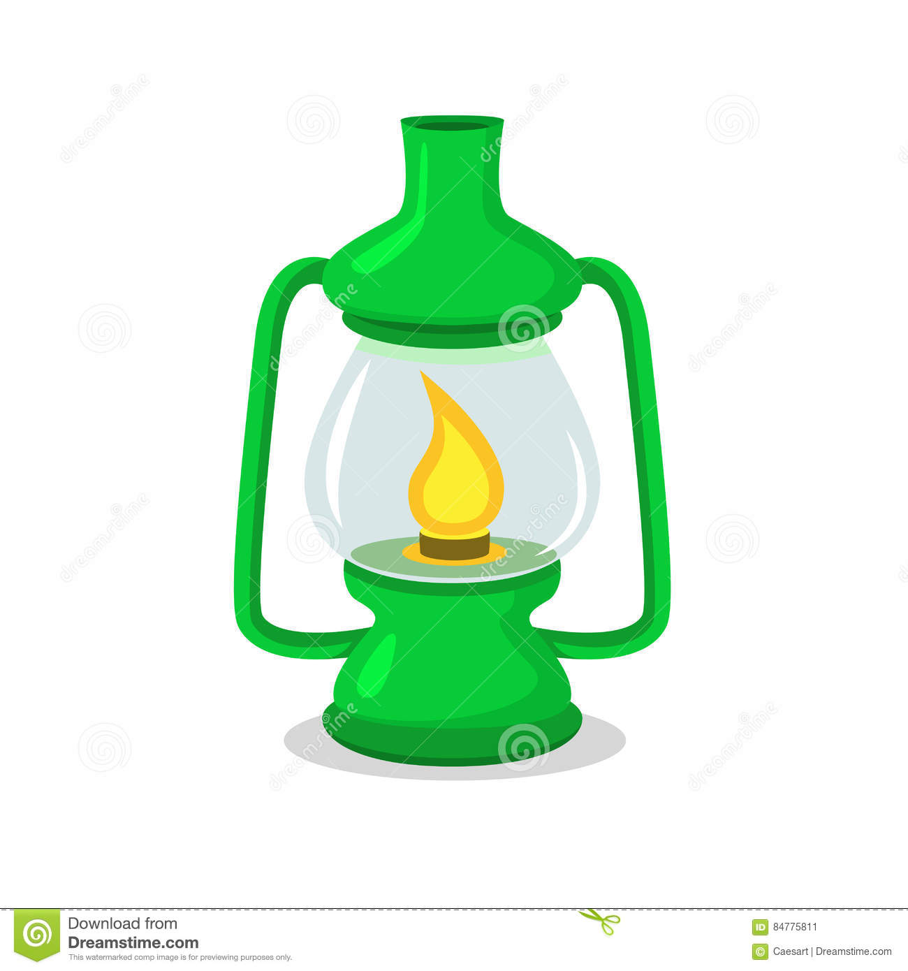 Vintage Green Camping Lantern On White In Flat And Cartoon Style