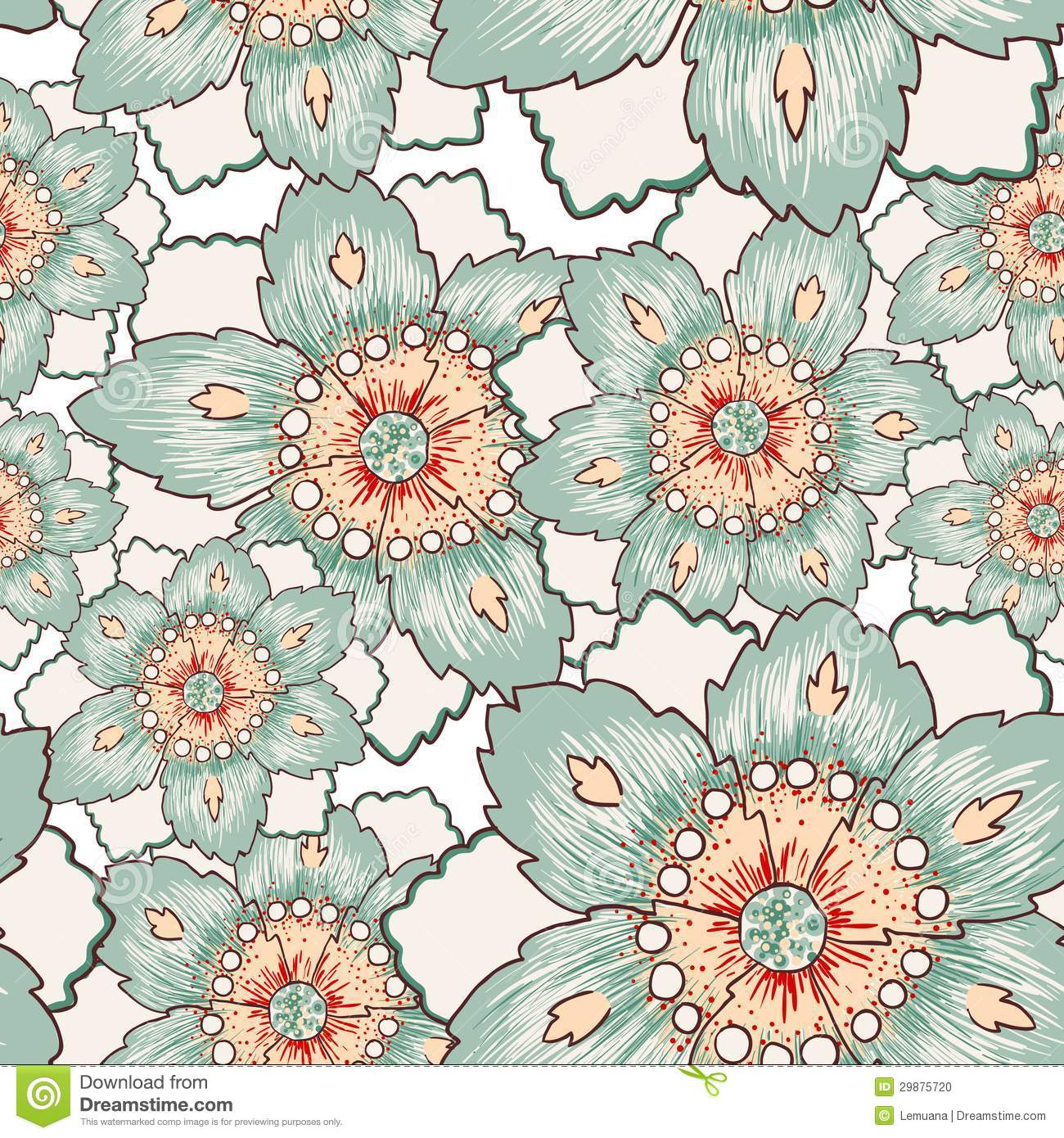 Vintage Green Flower Seamless Texture Stock Vector ...