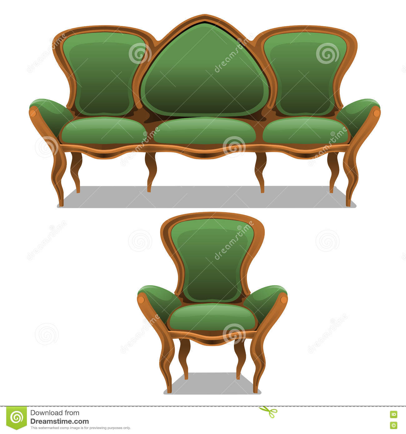 Vintage green furniture armchair and sofa stock vector for Free greene and greene furniture plans
