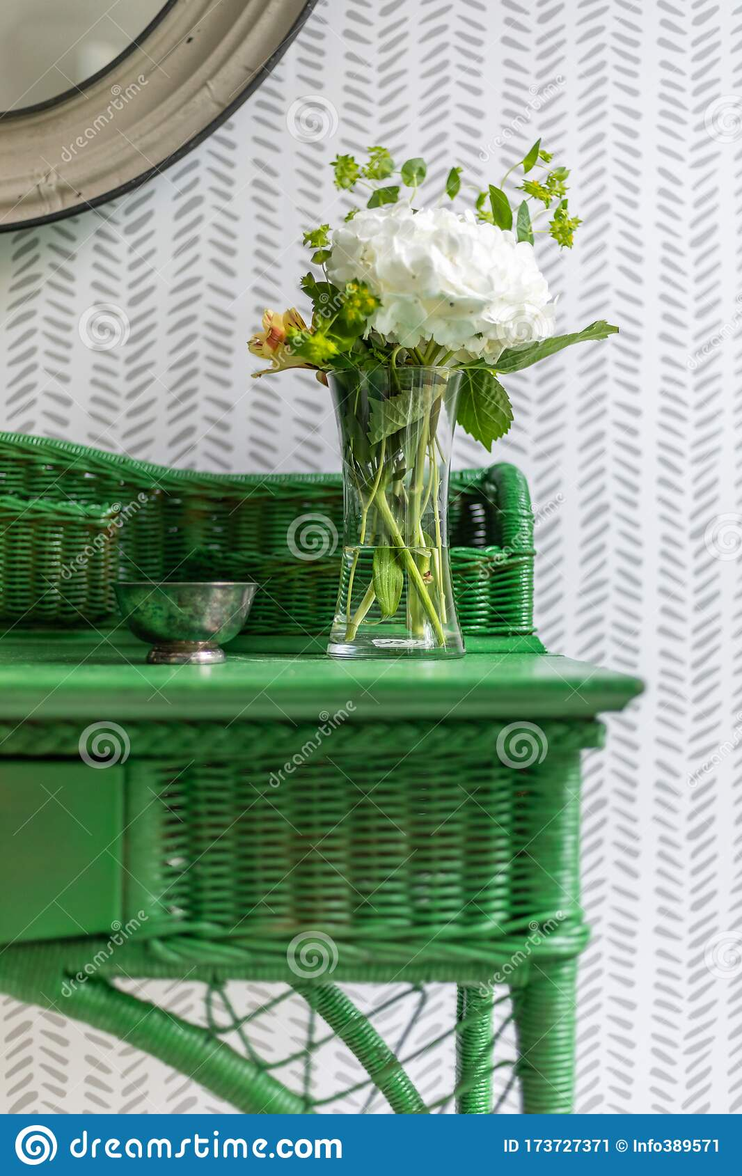 Vintage Green Wicker Nightstand With Flowers Stock Image Image Of Custom Stand 173727371