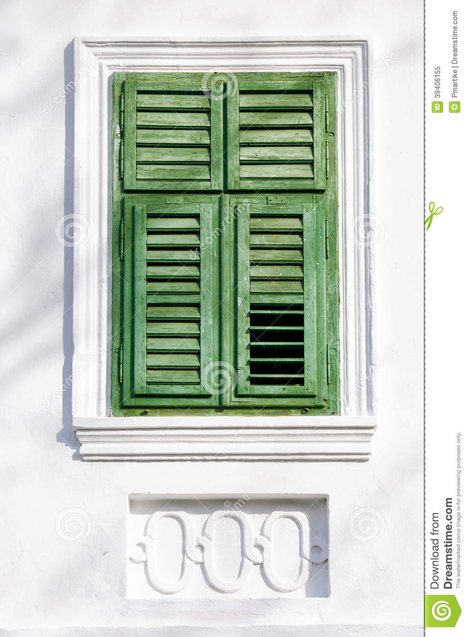 vintage green window on white wall stock photo image 39406155. Black Bedroom Furniture Sets. Home Design Ideas