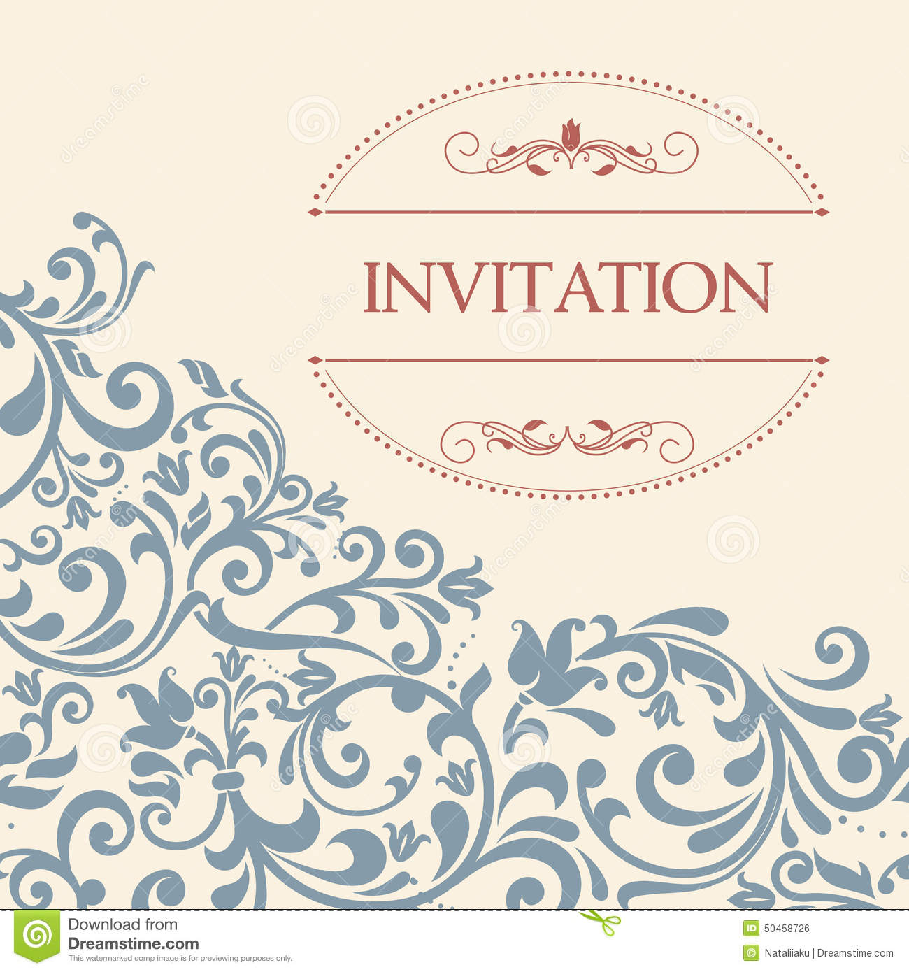 vintage greeting card invitation with floral ornaments stock vector
