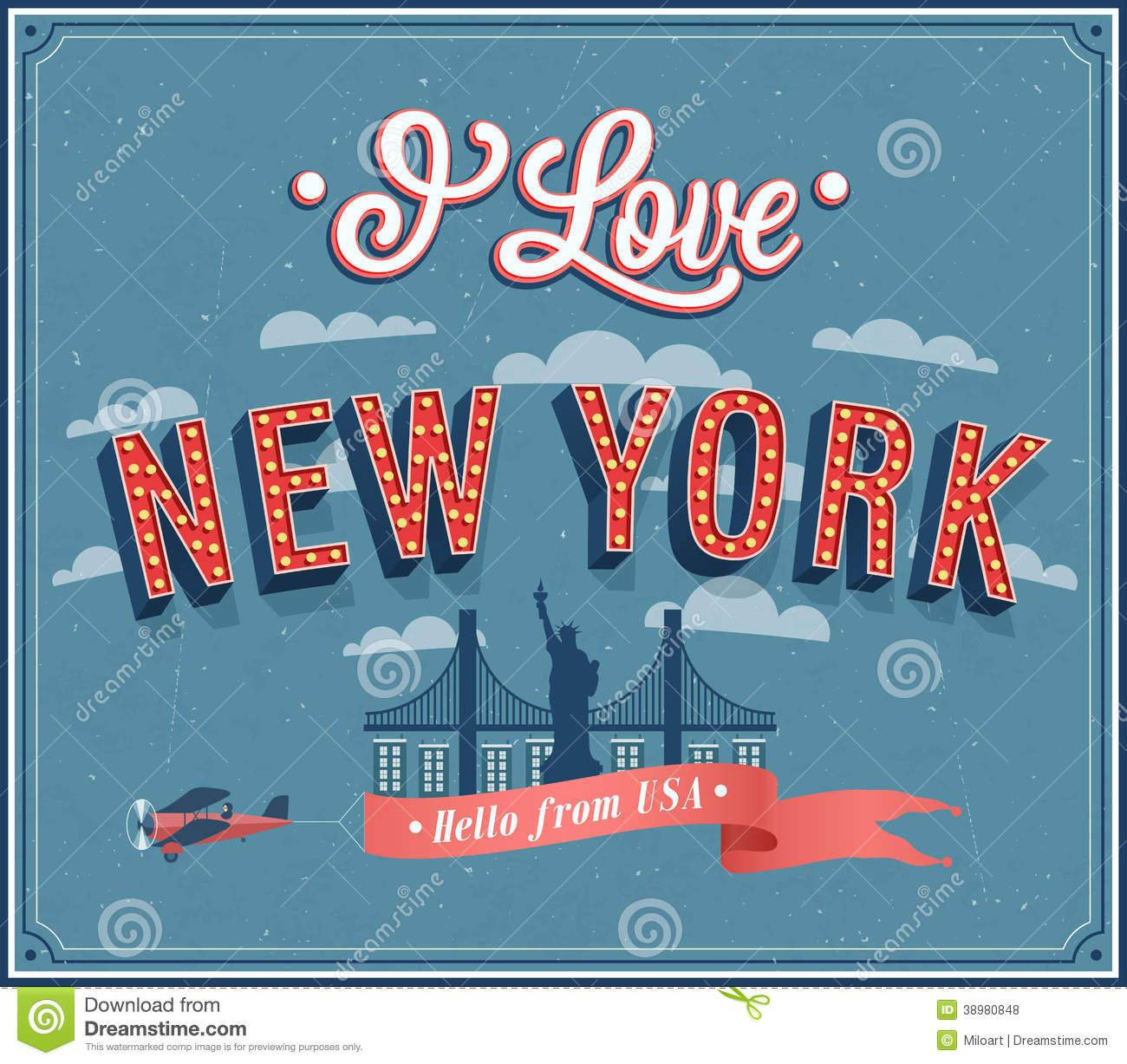 Vintage Greeting Card From New York Usa Stock Vector