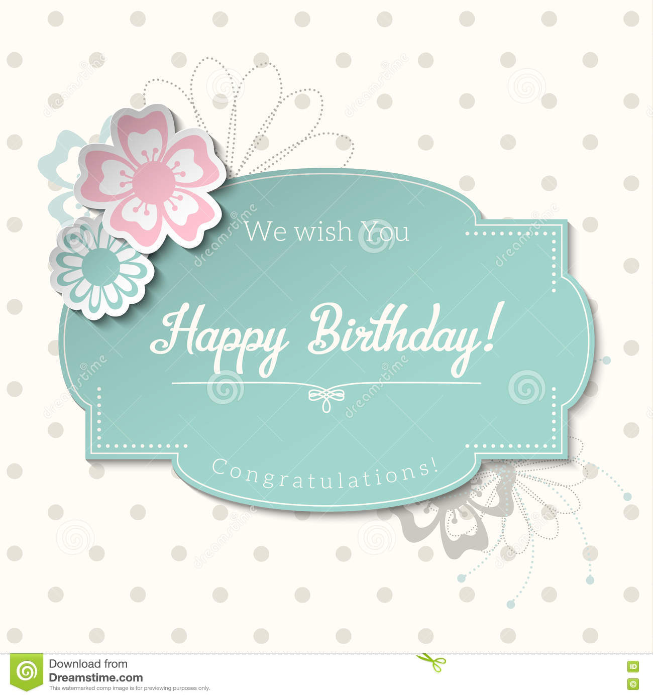Vintage Greeting Card In Shabby Chic Style With Text Happy Birthday Illustration