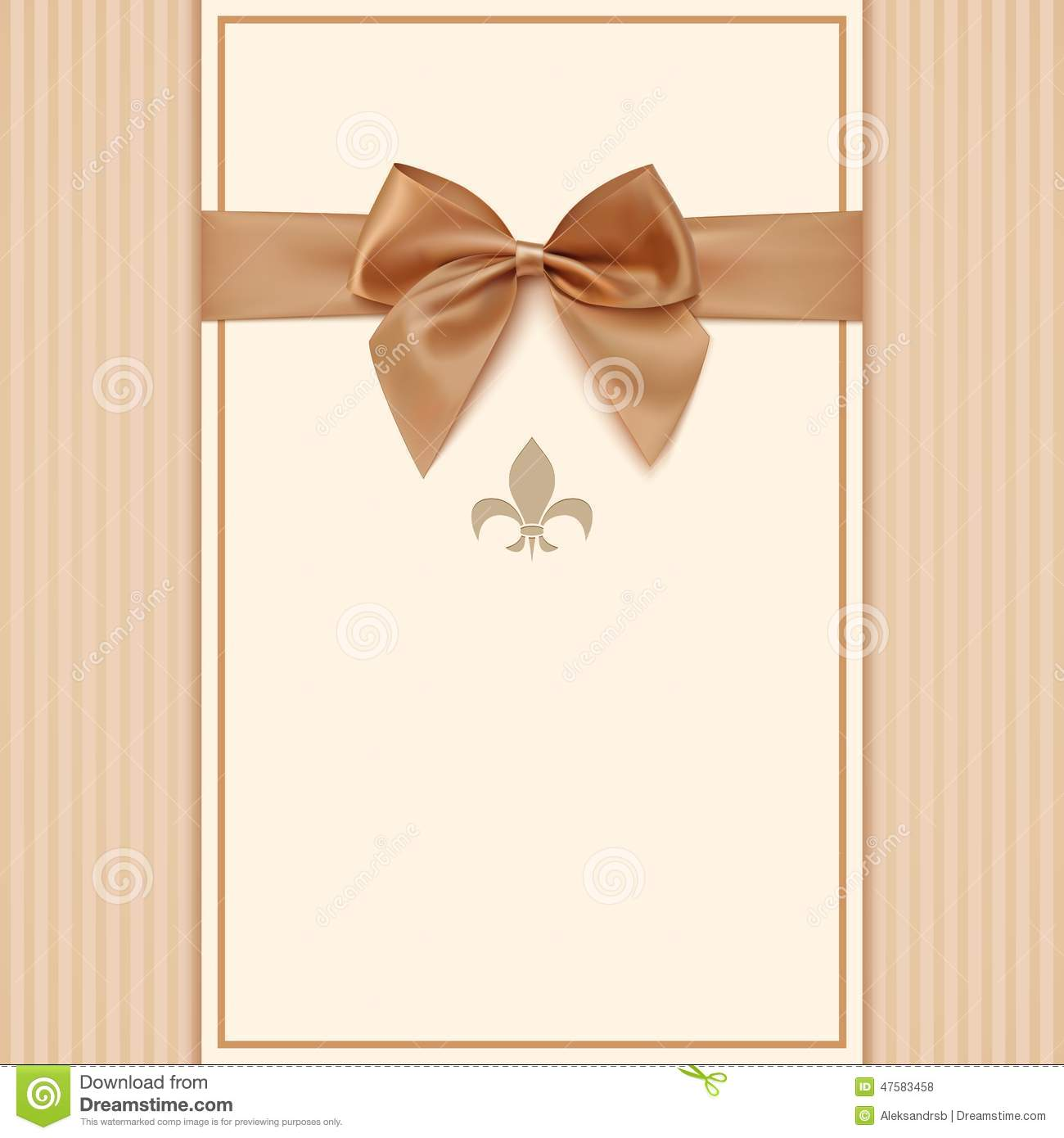 Vintage Greeting Card Template With Golden Bow Stock Vector - Retro birthday invitation template