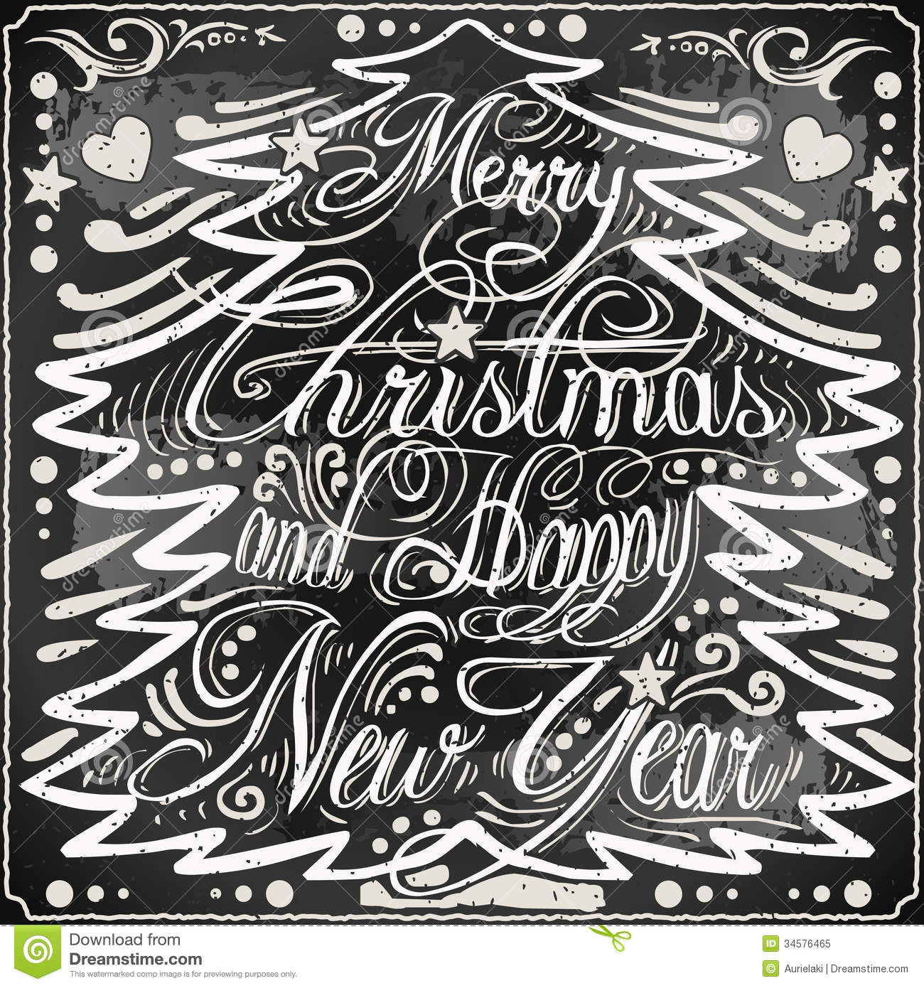 of a Vintage Merry Christmas and Happy New Year Text in §Christmas ...