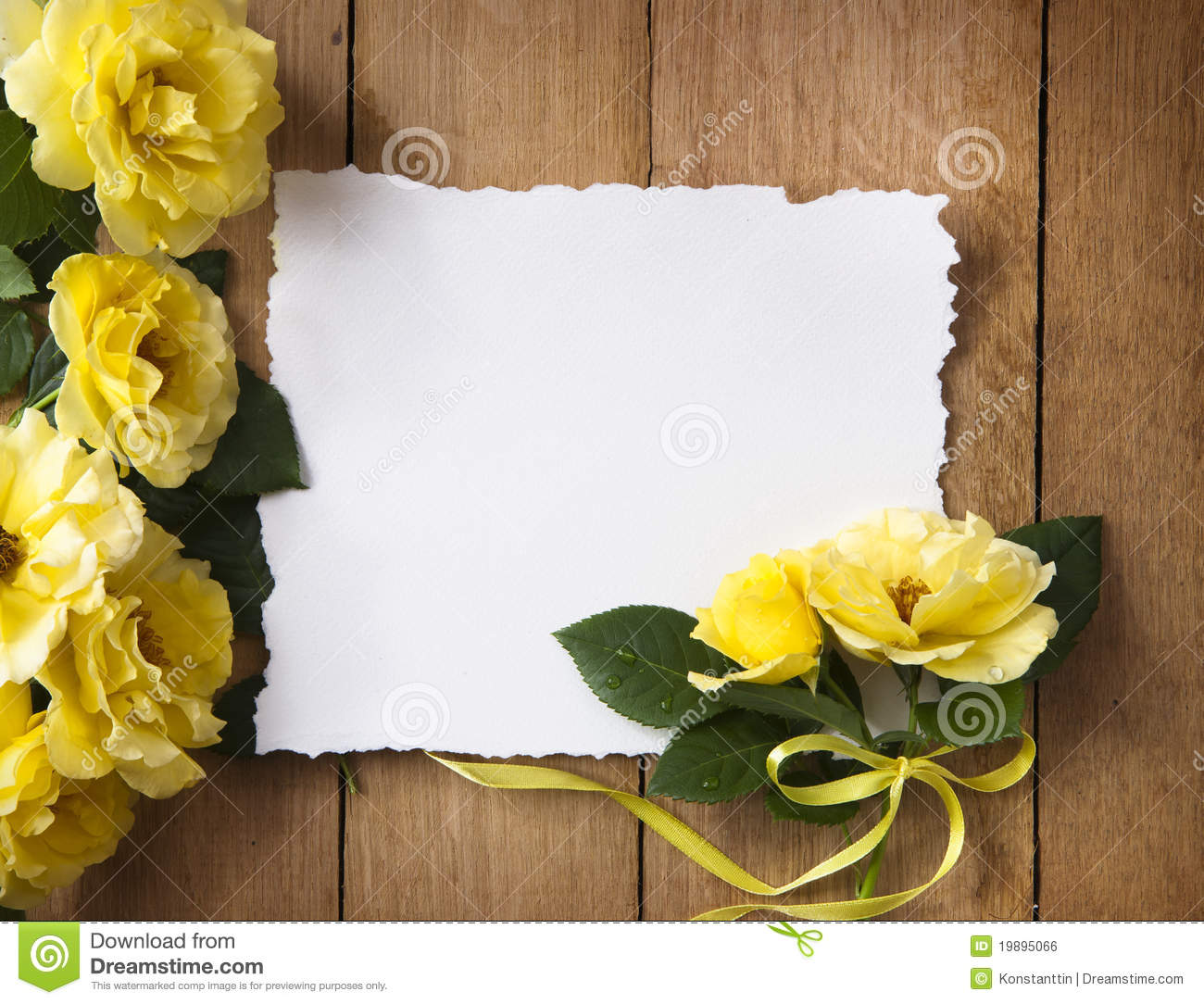 Vintage Greeting Card With Yellow Roses Stock Photo Image Of