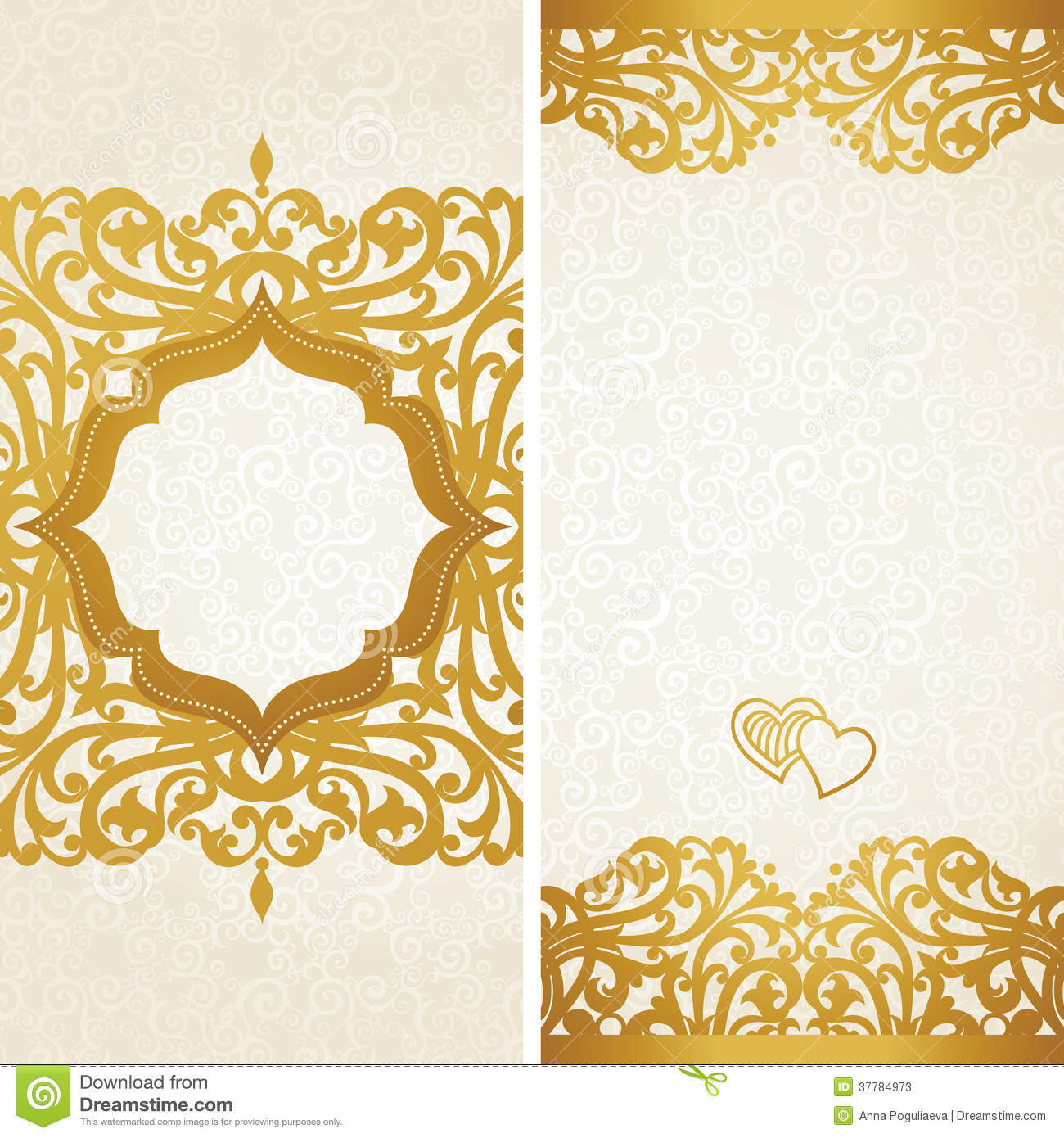 Vintage Greeting Cards With Swirls And Floral Motifs In