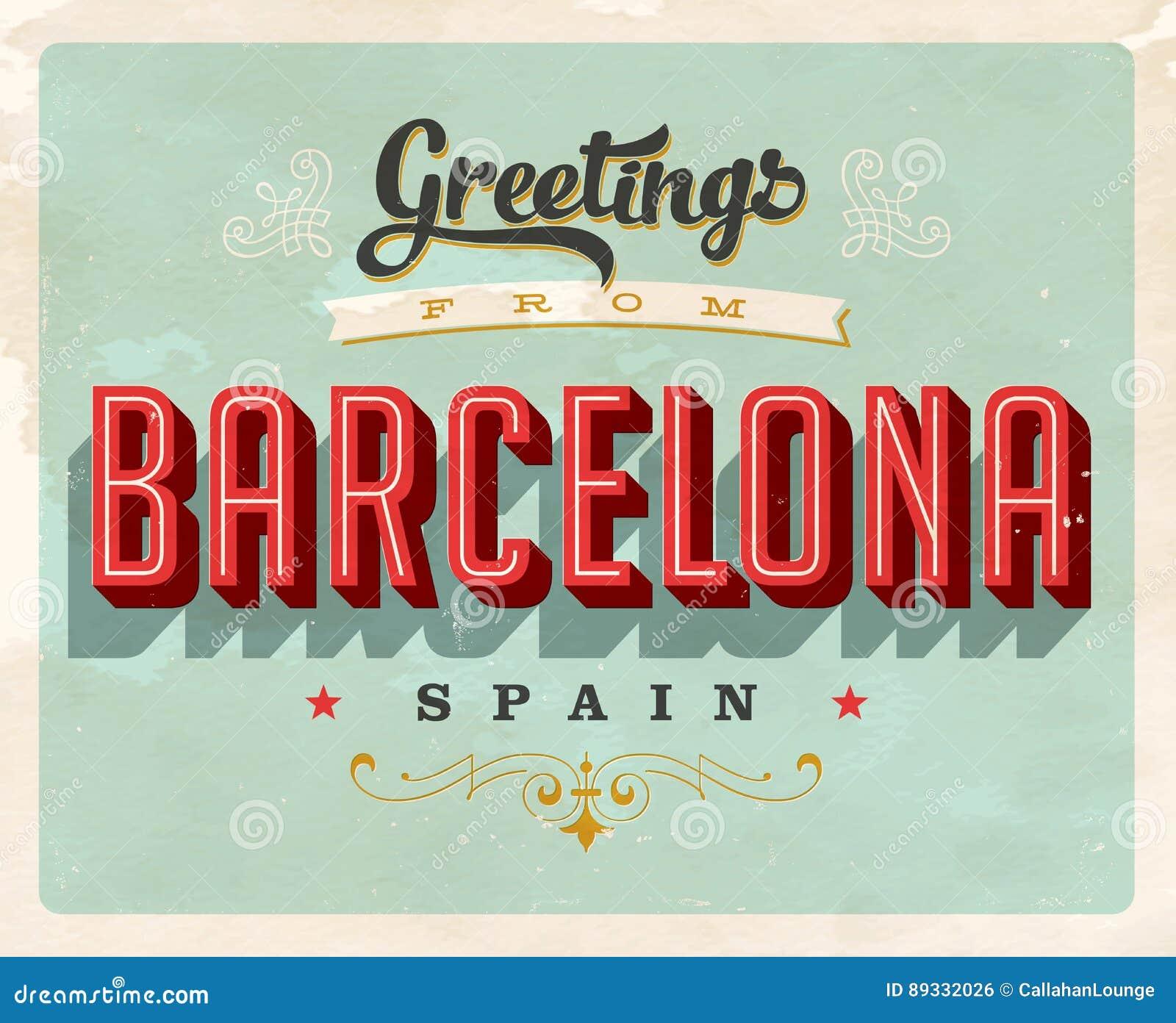 Vintage greetings from barcelona spain vacation card stock vector download vintage greetings from barcelona spain vacation card stock vector illustration of break m4hsunfo