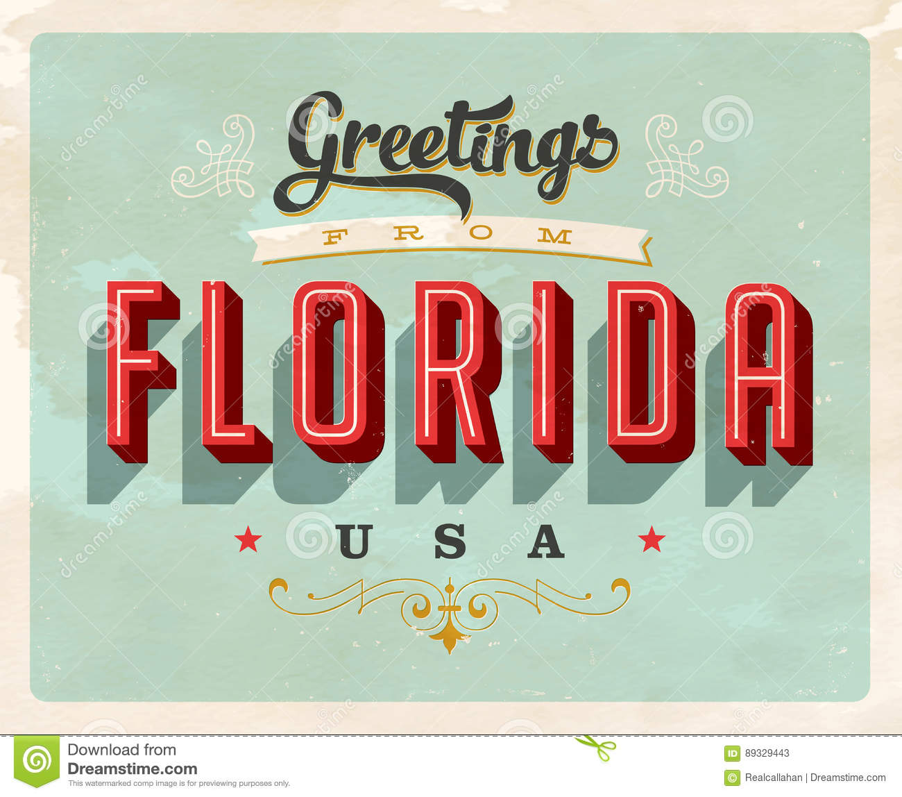 Vintage greetings from florida vacation card stock vector vintage greetings from florida vacation card kristyandbryce Image collections
