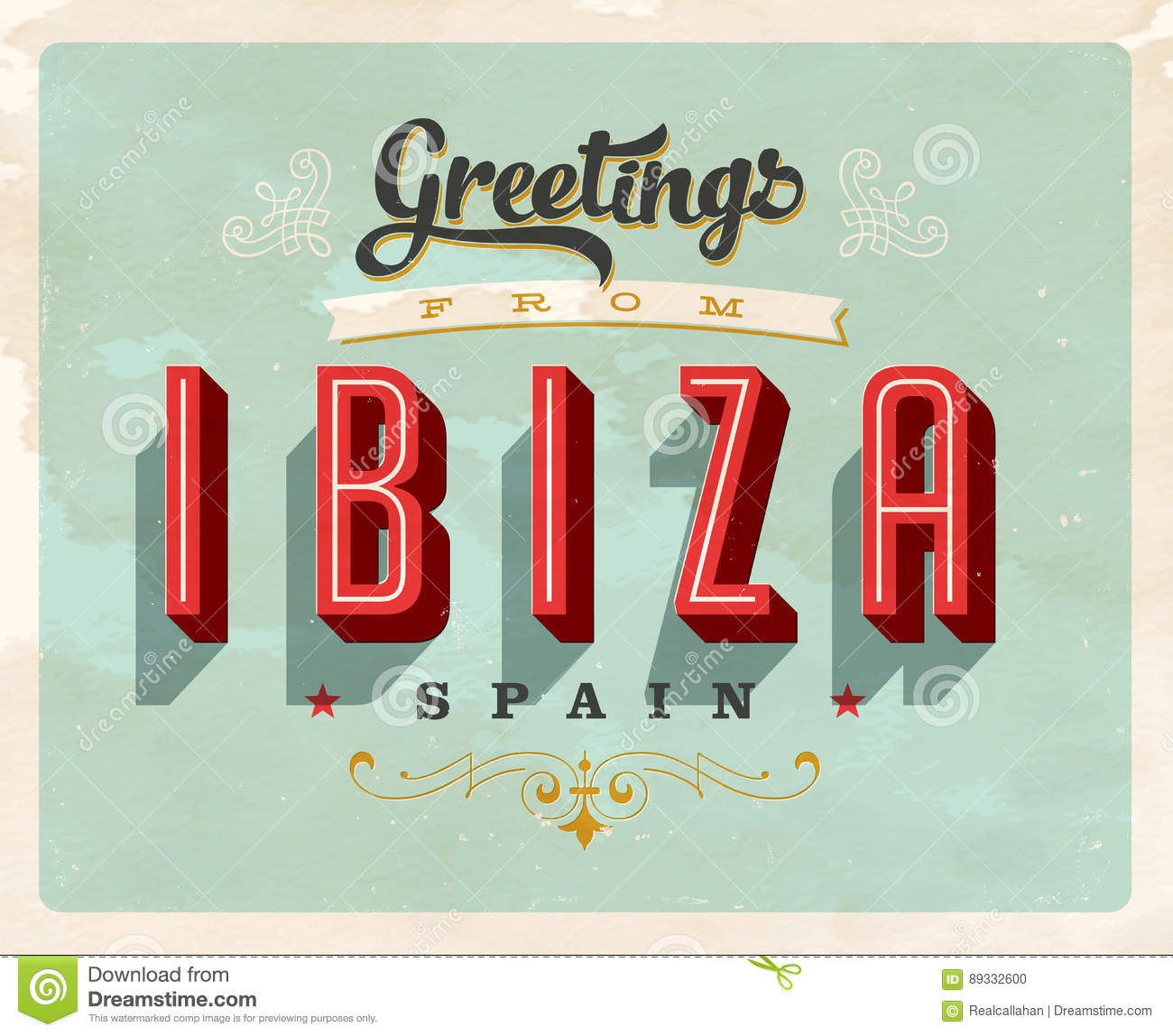 Vintage greetings from ibiza spain vacation card stock vector download comp m4hsunfo