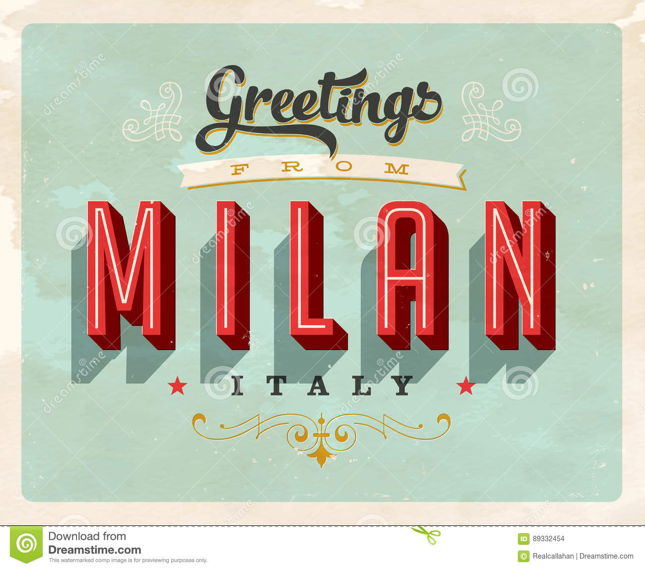 Vintage greetings from milan italy vacation card stock vector download vintage greetings from milan italy vacation card stock vector illustration of postcard m4hsunfo