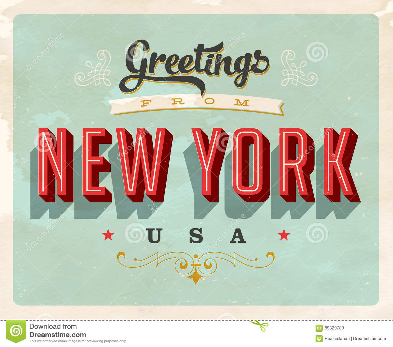 Vintage greetings from new york vacation card stock vector vintage greetings from new york vacation card kristyandbryce Images