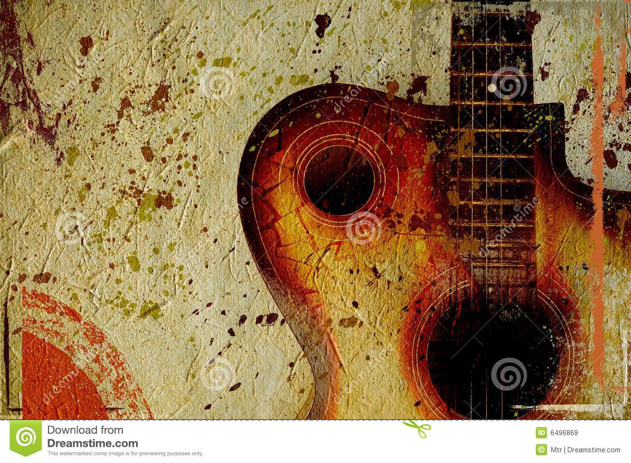 Vintage Grunge Background With Guitar Royalty Free Stock