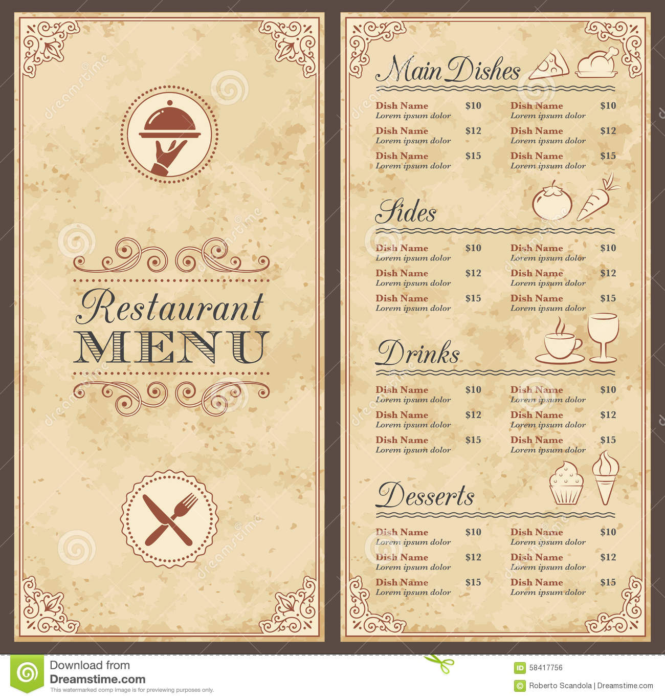 Vintage restaurant menus the image kid has it for Roman menu template