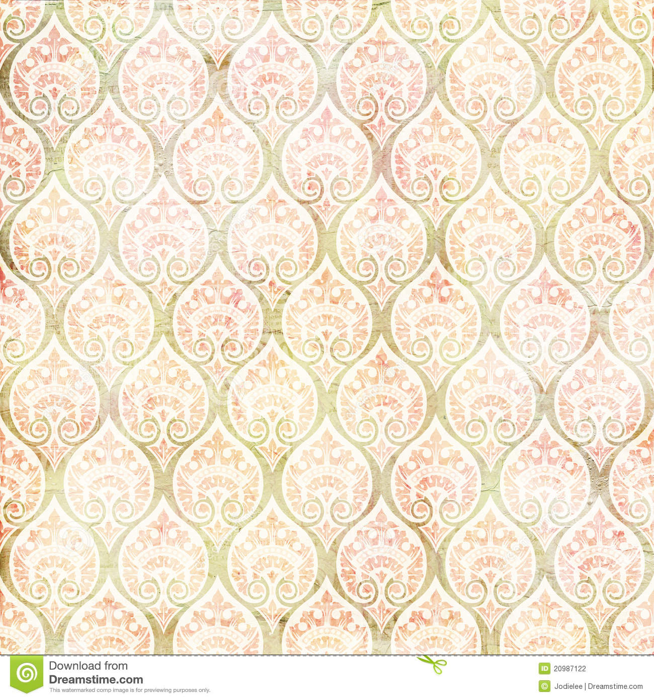 Vintage grungy damask repeating pattern