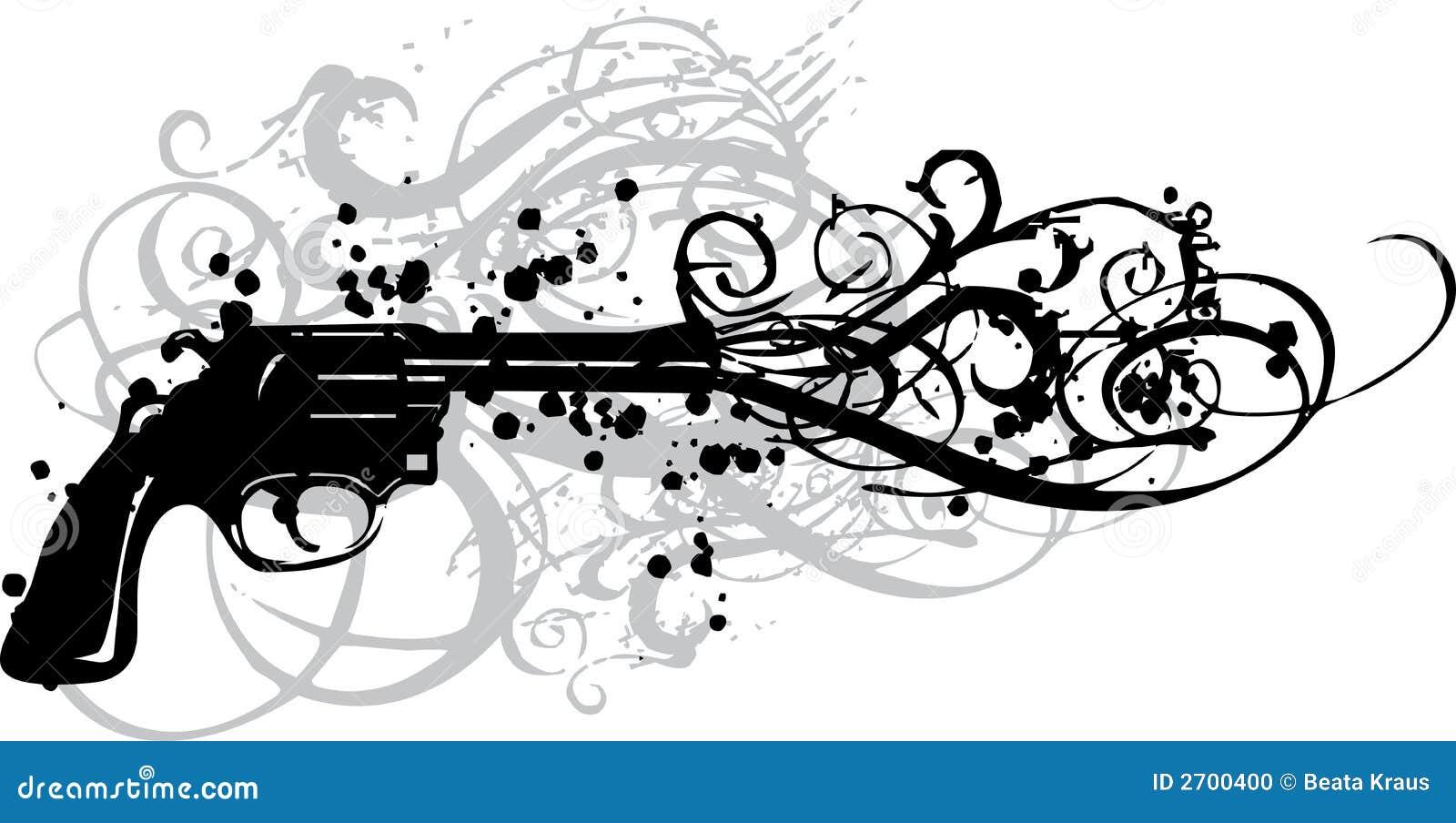 vintage gun with grungy swirls stock vector