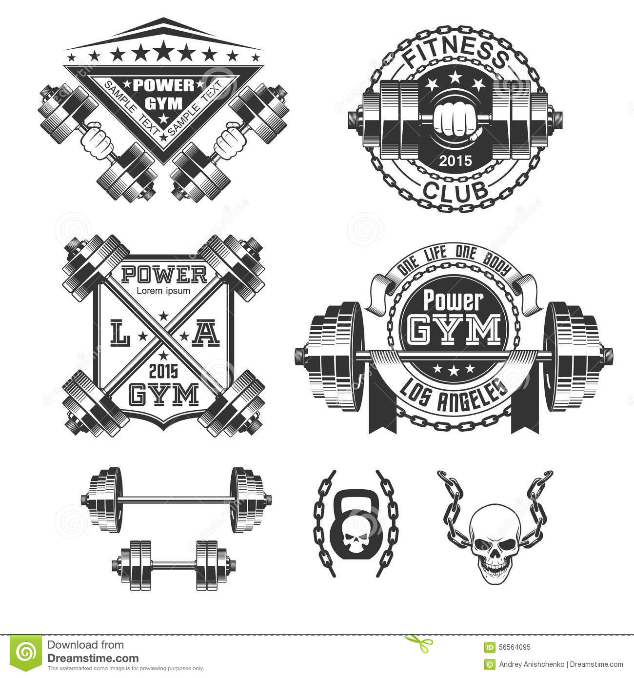 vintage gym fitness stamp collection cartoon vector