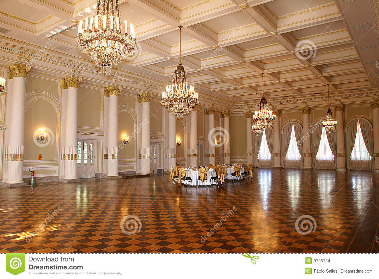 Vintage Hall On Palace In Brazil Stock Photo Image Of
