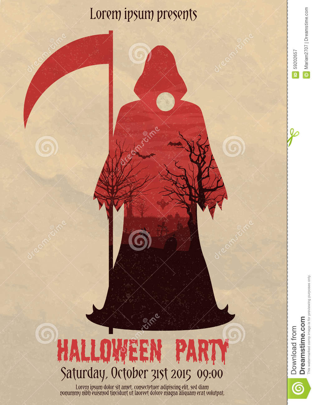 Vintage Halloween Party Death Poster Stock Vector - Image: 59202657