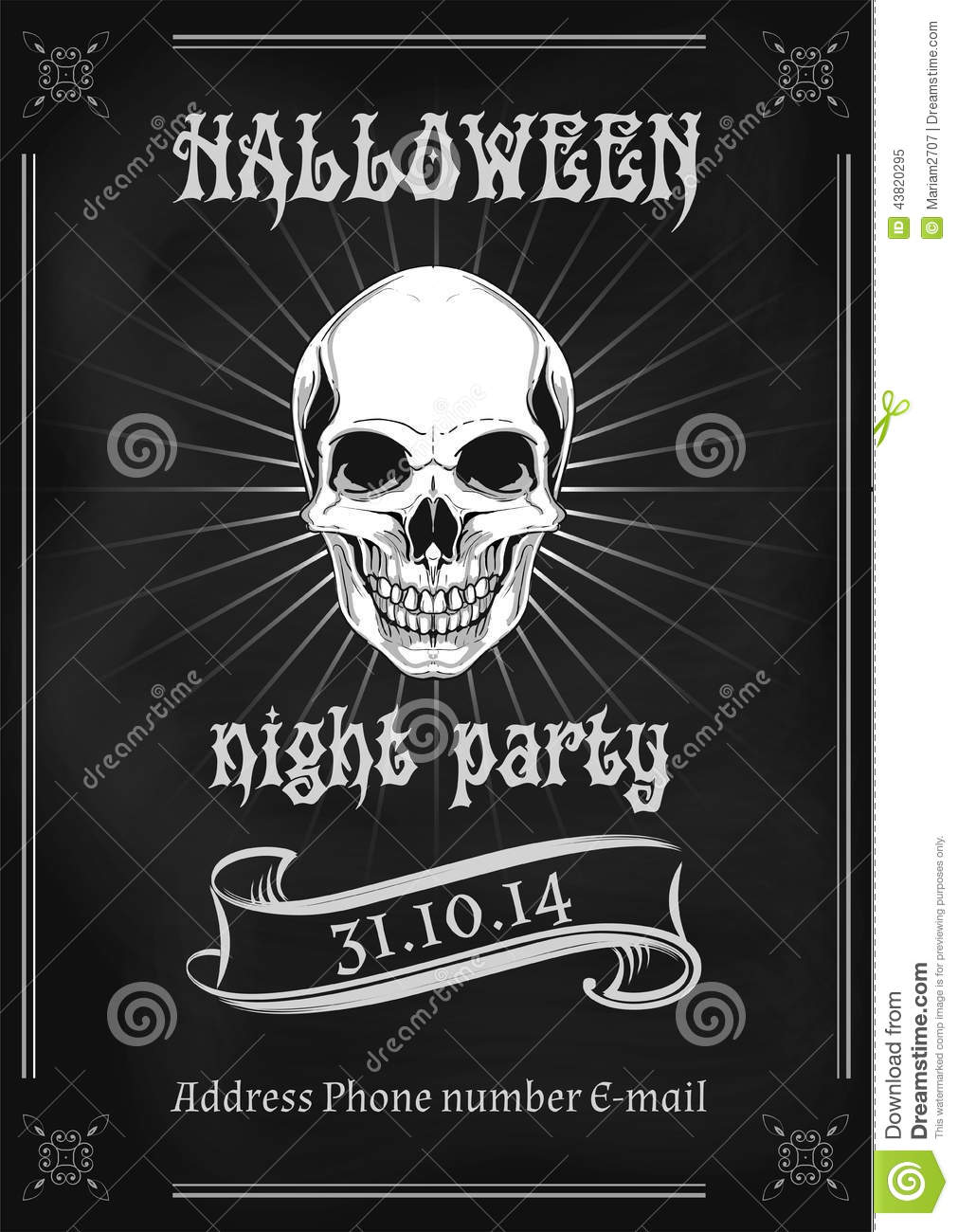 Vintage Halloween Party Flyer Stock Vector - Image: 43820295