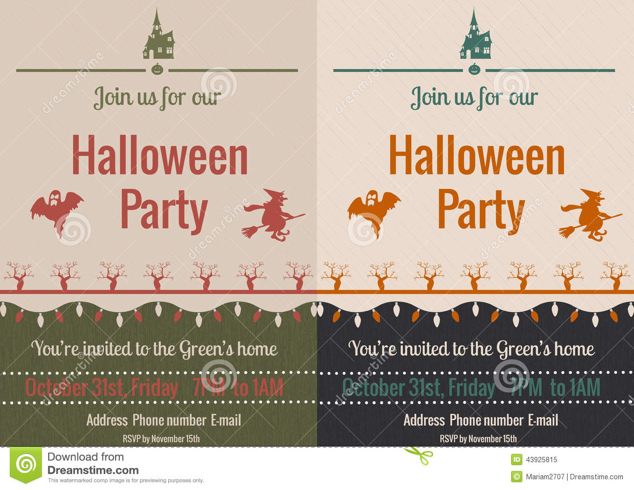 Vintage Halloween Party Flyer Stock Vector - Image: 43925815