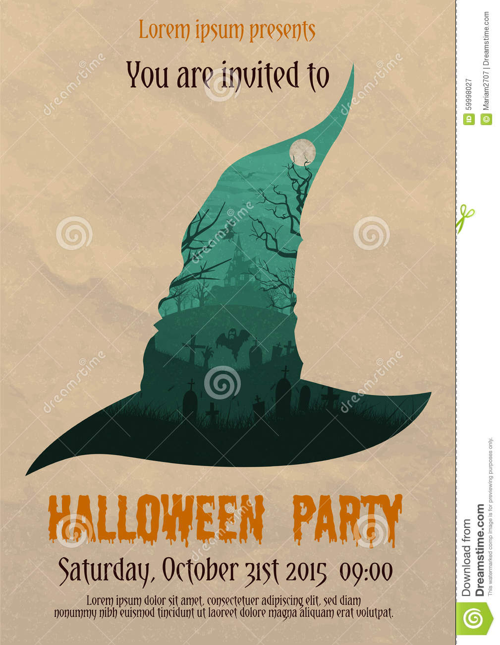 Vintage Halloween Party Witch Poster Stock Vector ...