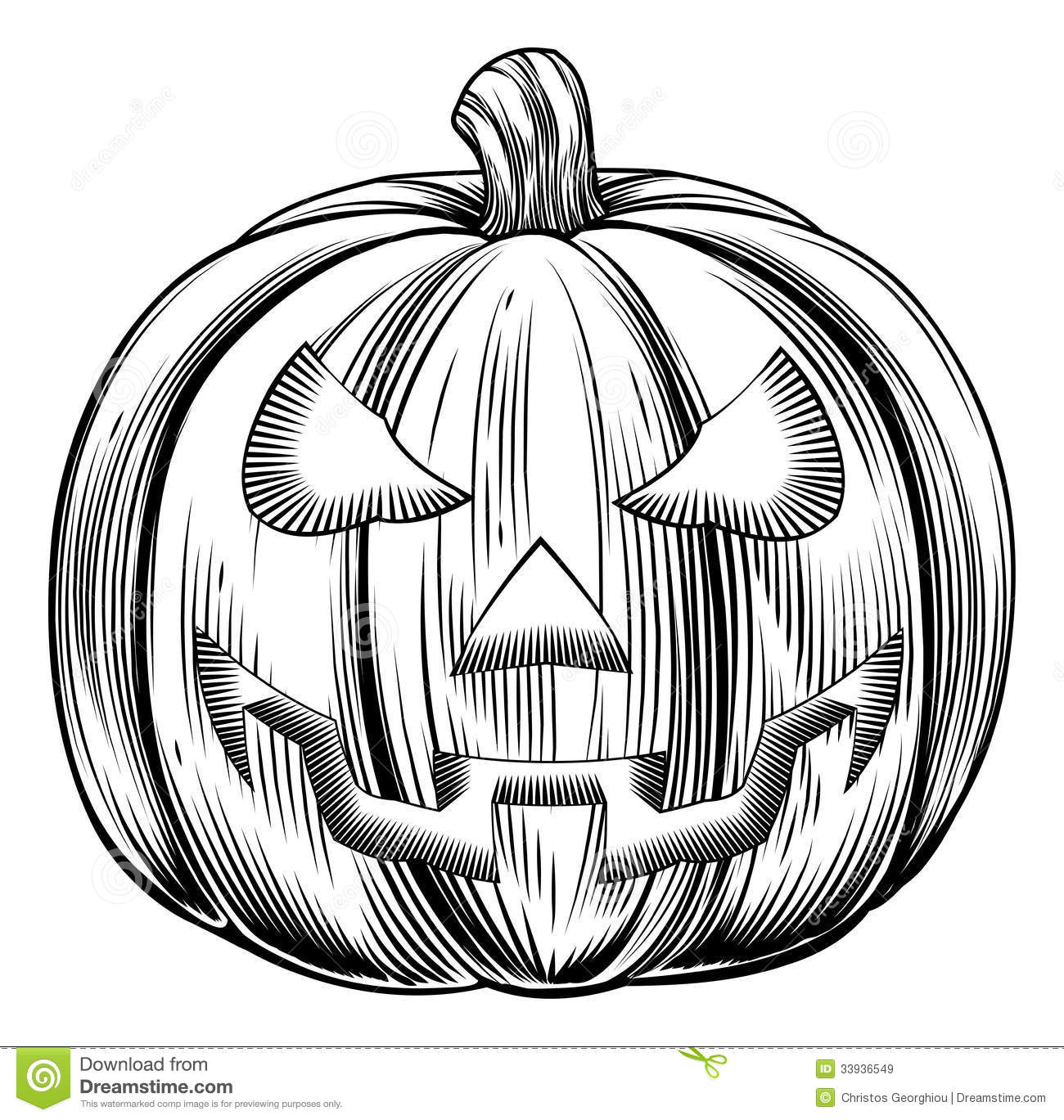 Classic Retro Illustration: Vintage Halloween Pumpkin Stock Vector. Image Of Print