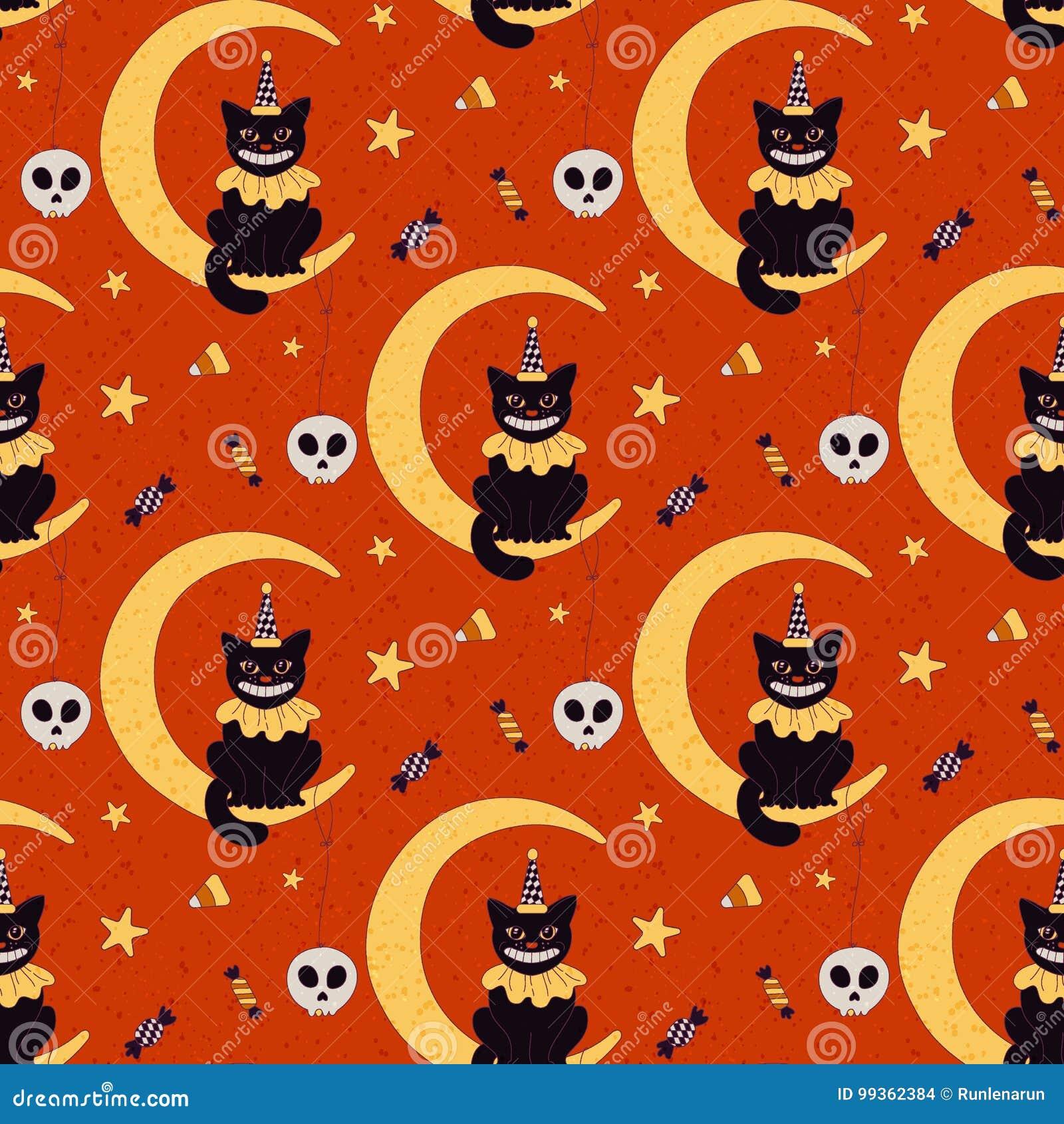 Vintage Halloween Seamless Pattern Stock Illustration