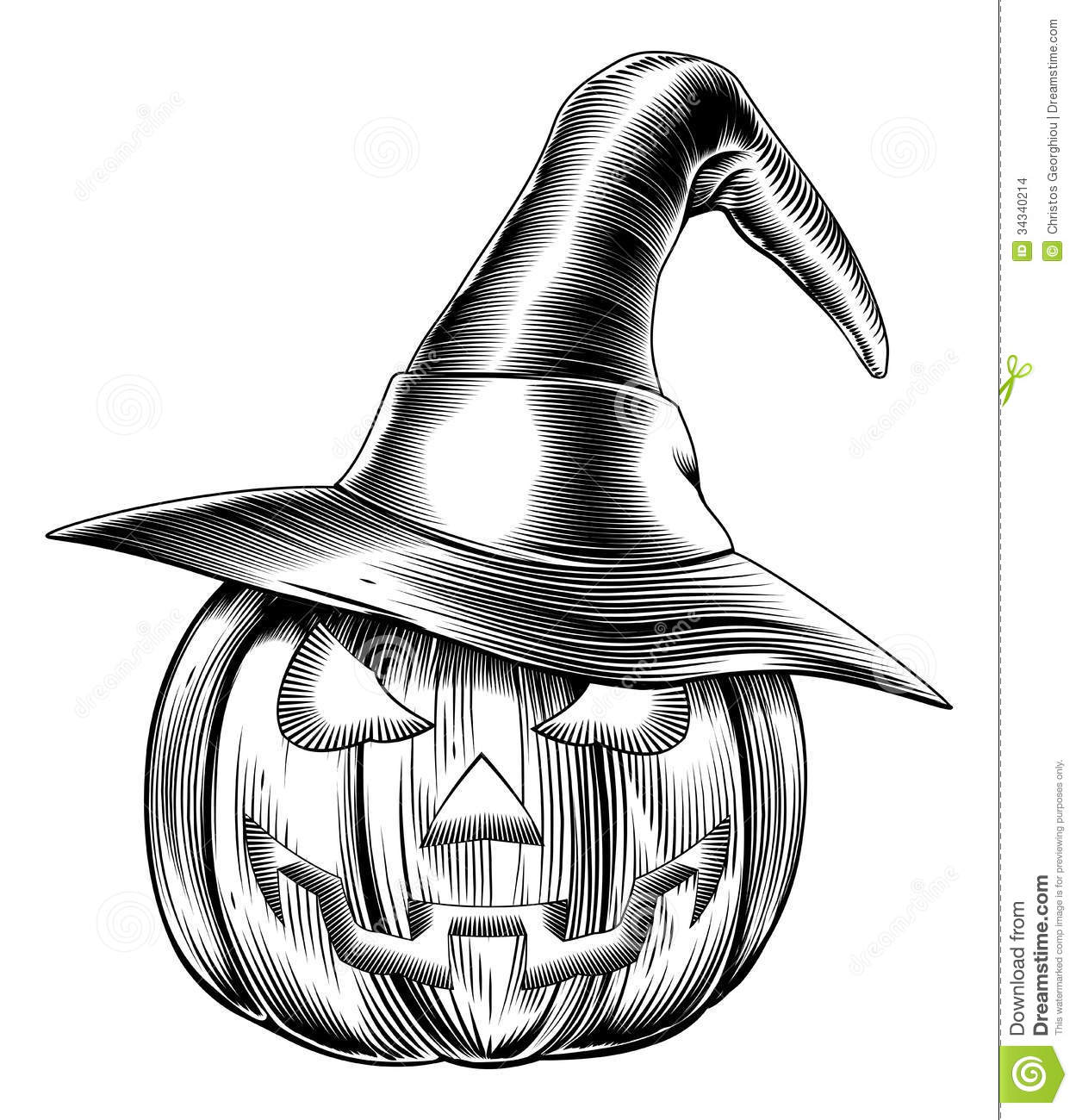 An illustration of a Halloween pumpkin wearing a witch hat in a retro ...