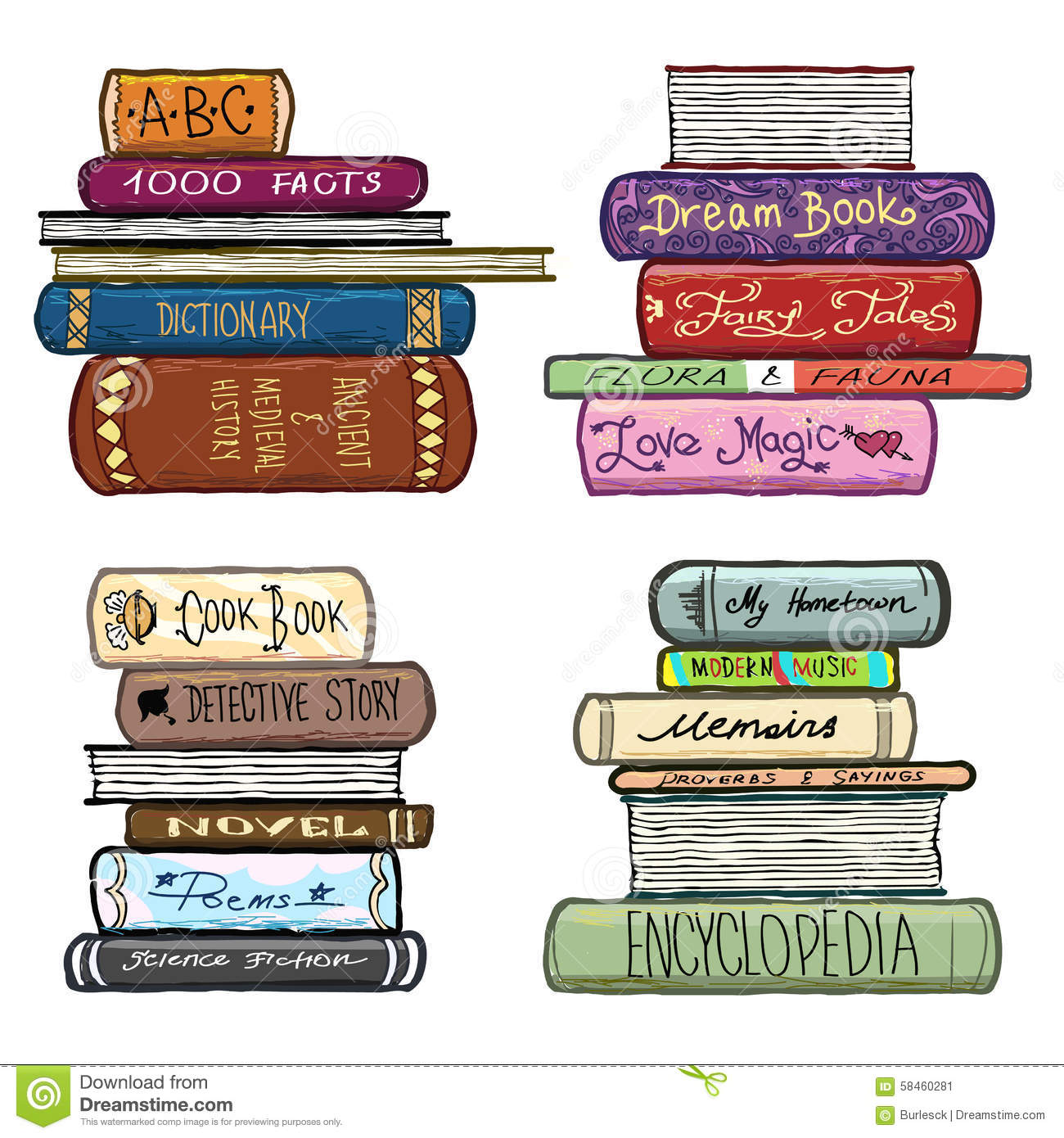 Classic Book Covers Vector ~ Vintage hand drawn books library vector set stock