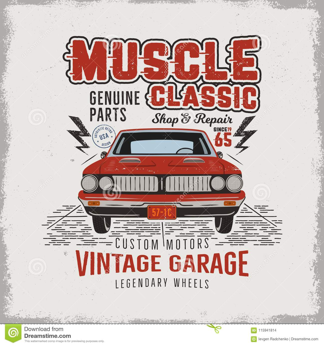 Vintage hand drawn classic muscle car t shirt design classic automobile poster with words