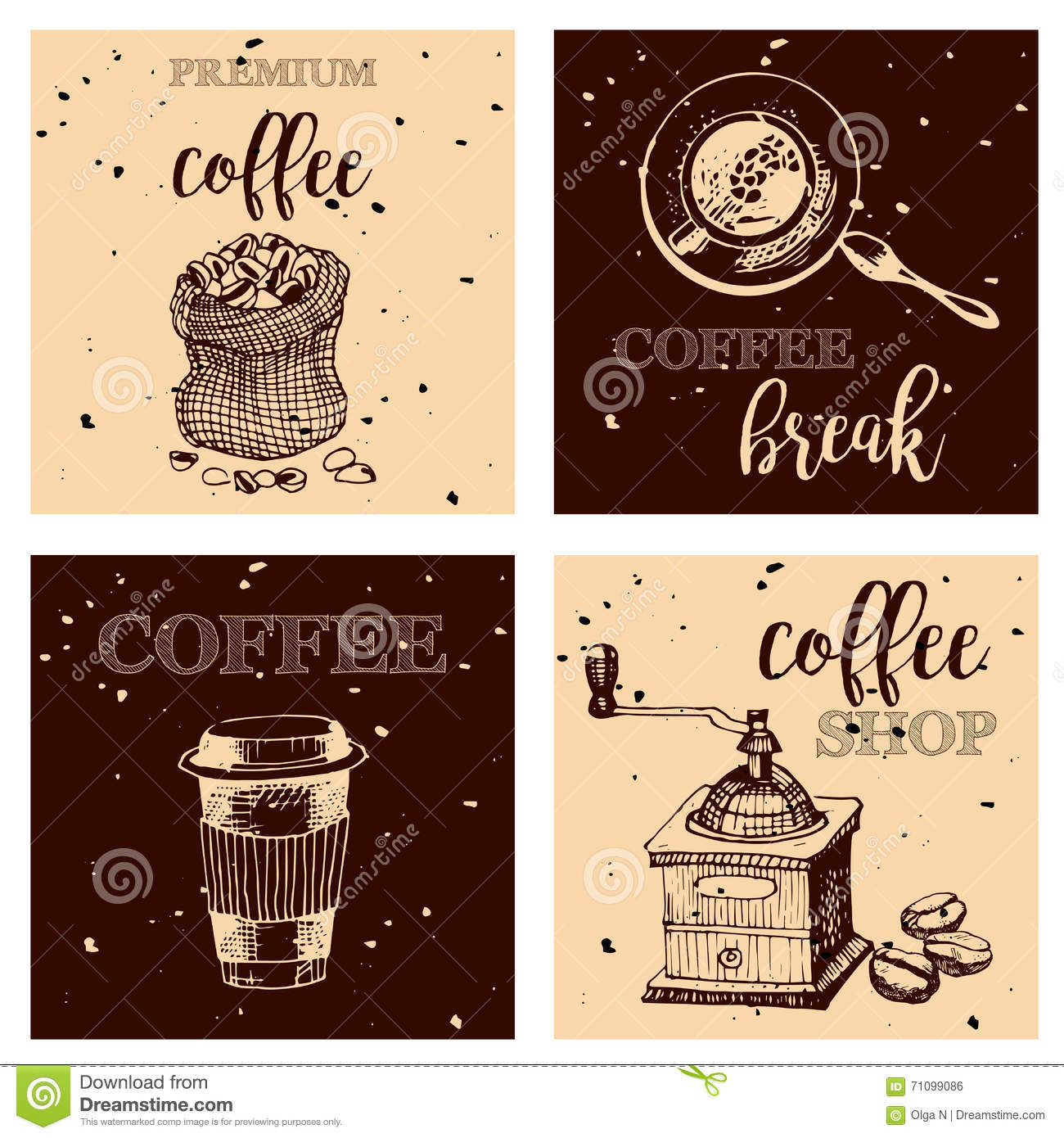Vintage Hand Drawn Design Elements For Coffee Shop, Market ...