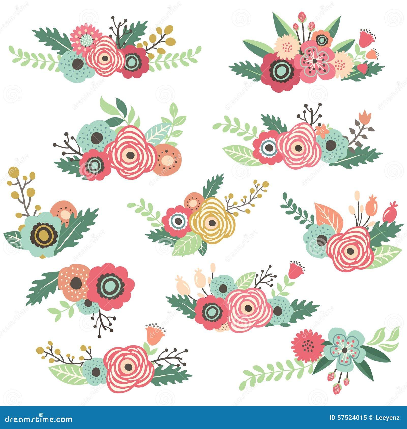 Line Art Flower Vector Free Download : Vintage hand drawn floral bouquet set stock vector