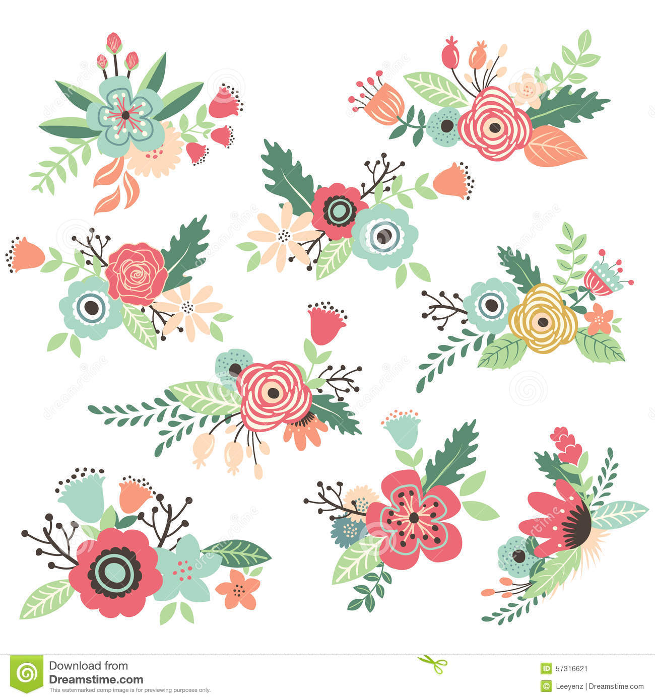 Vintage Hand Drawn Flowers Set Stock Vector Image 57316621